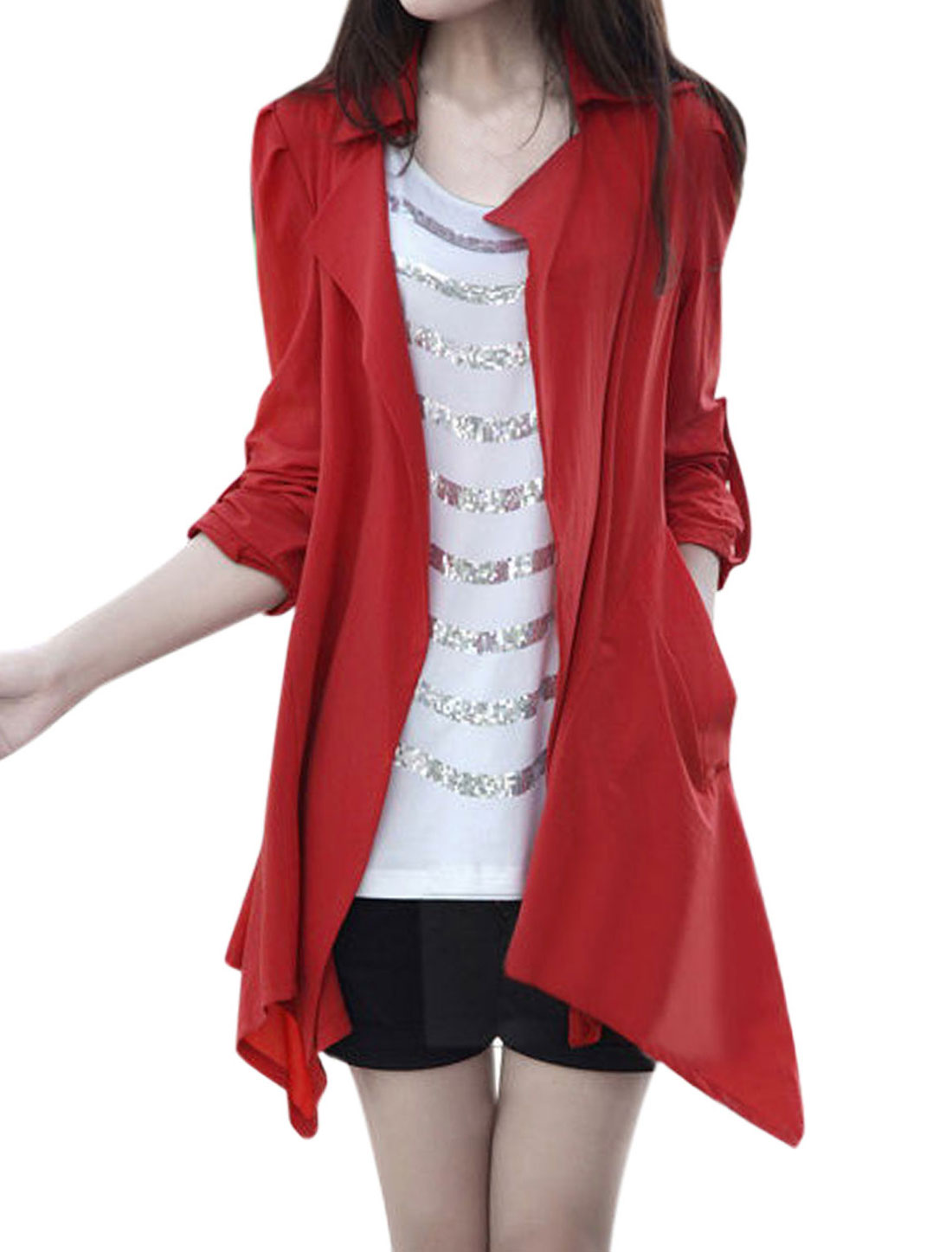 Ladies Front Open Double Pocket Red Trench Jacket S