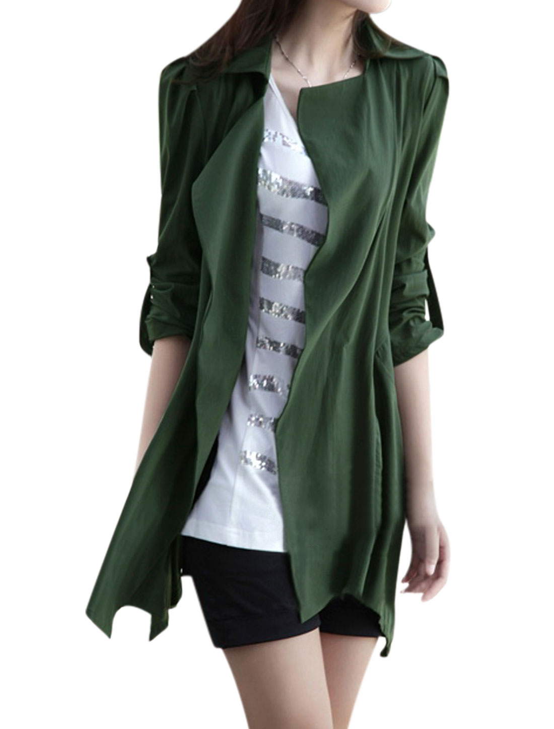 Lady Opening Front Long Sleeves Army Green Trench Jacket S