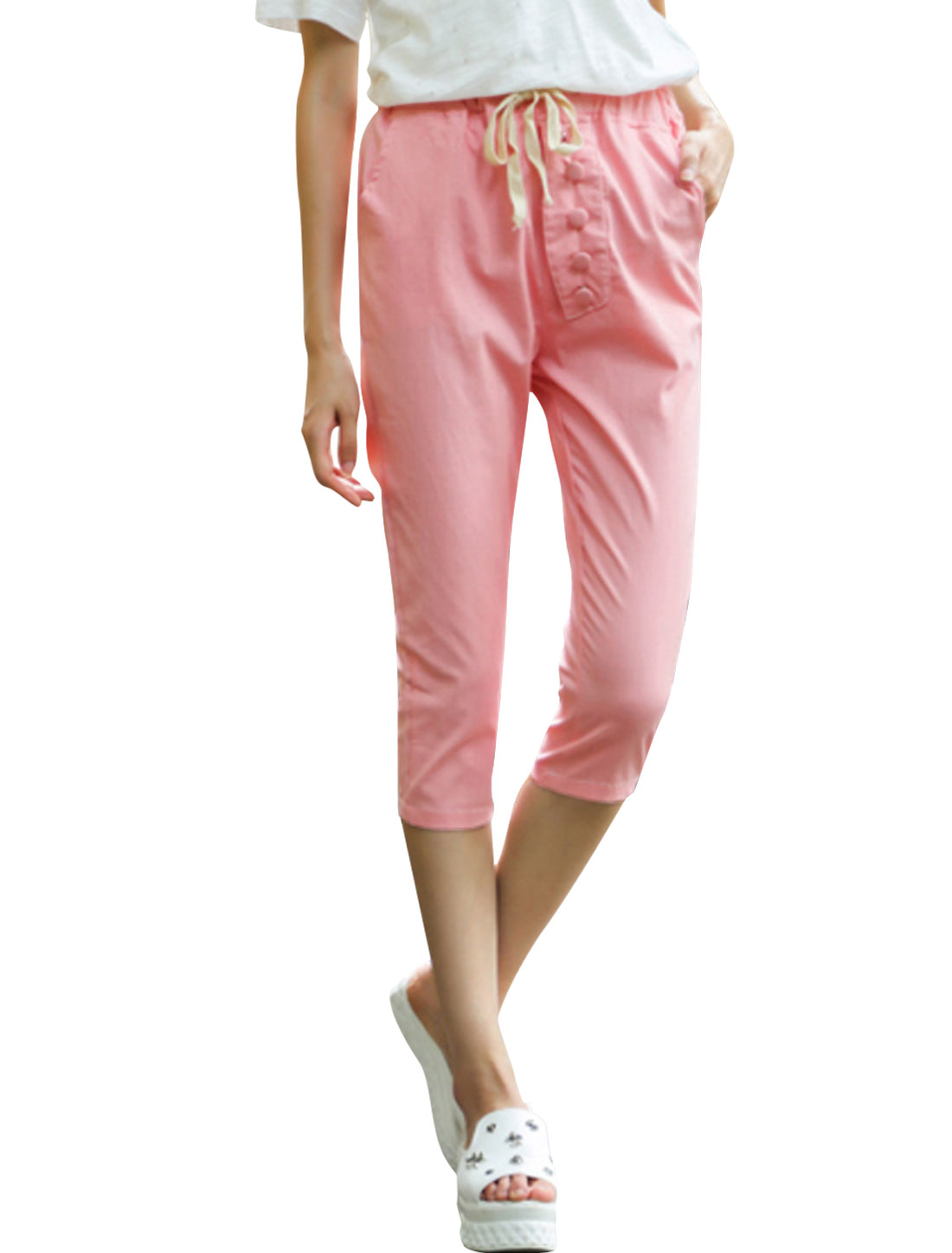 Lady Elastic Waist Welt Pockets Back Mock Placket Casual Linen Capris Pink M
