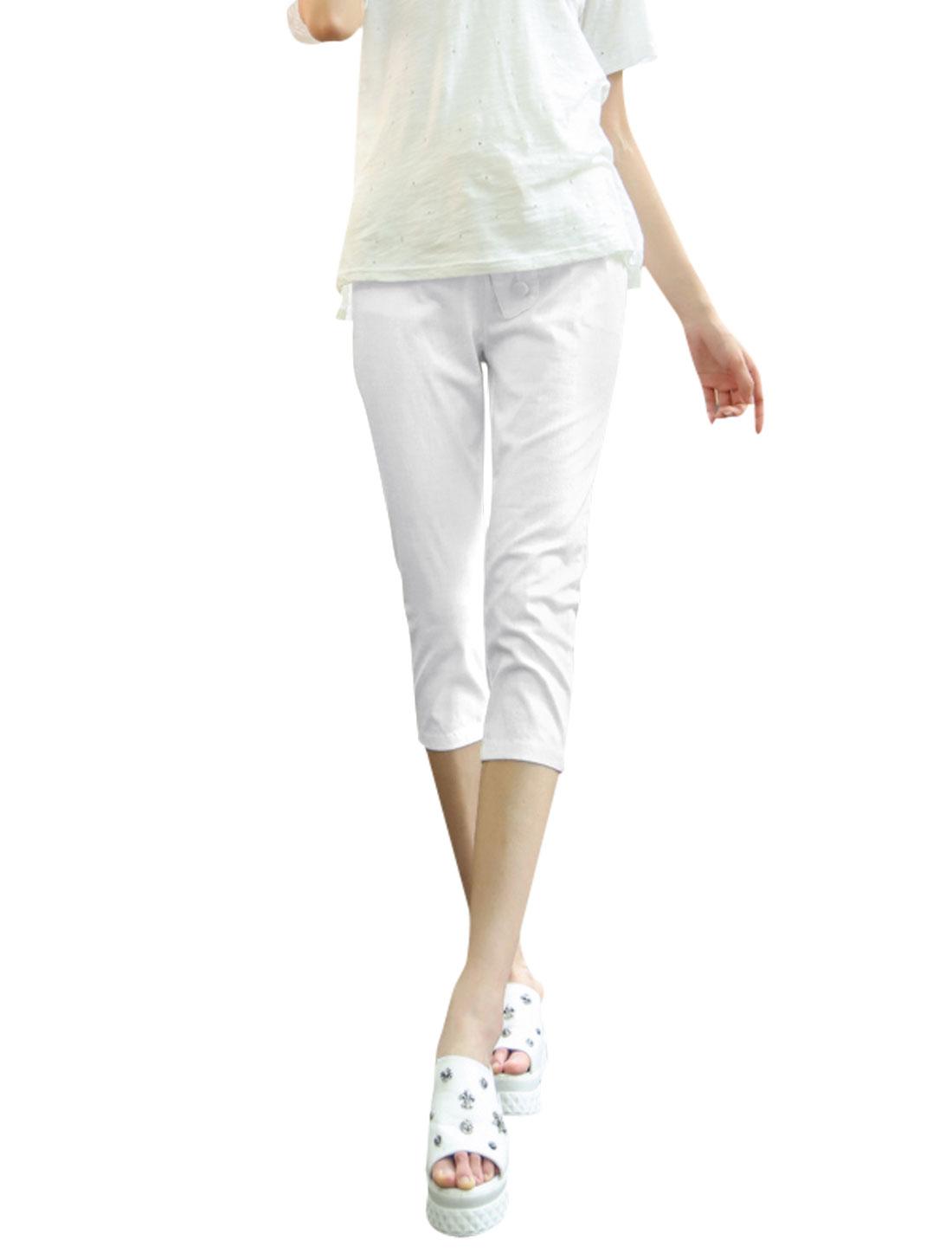 Lady Drawstring Elastic Waist Mock Placket Casual Linen Capris White M