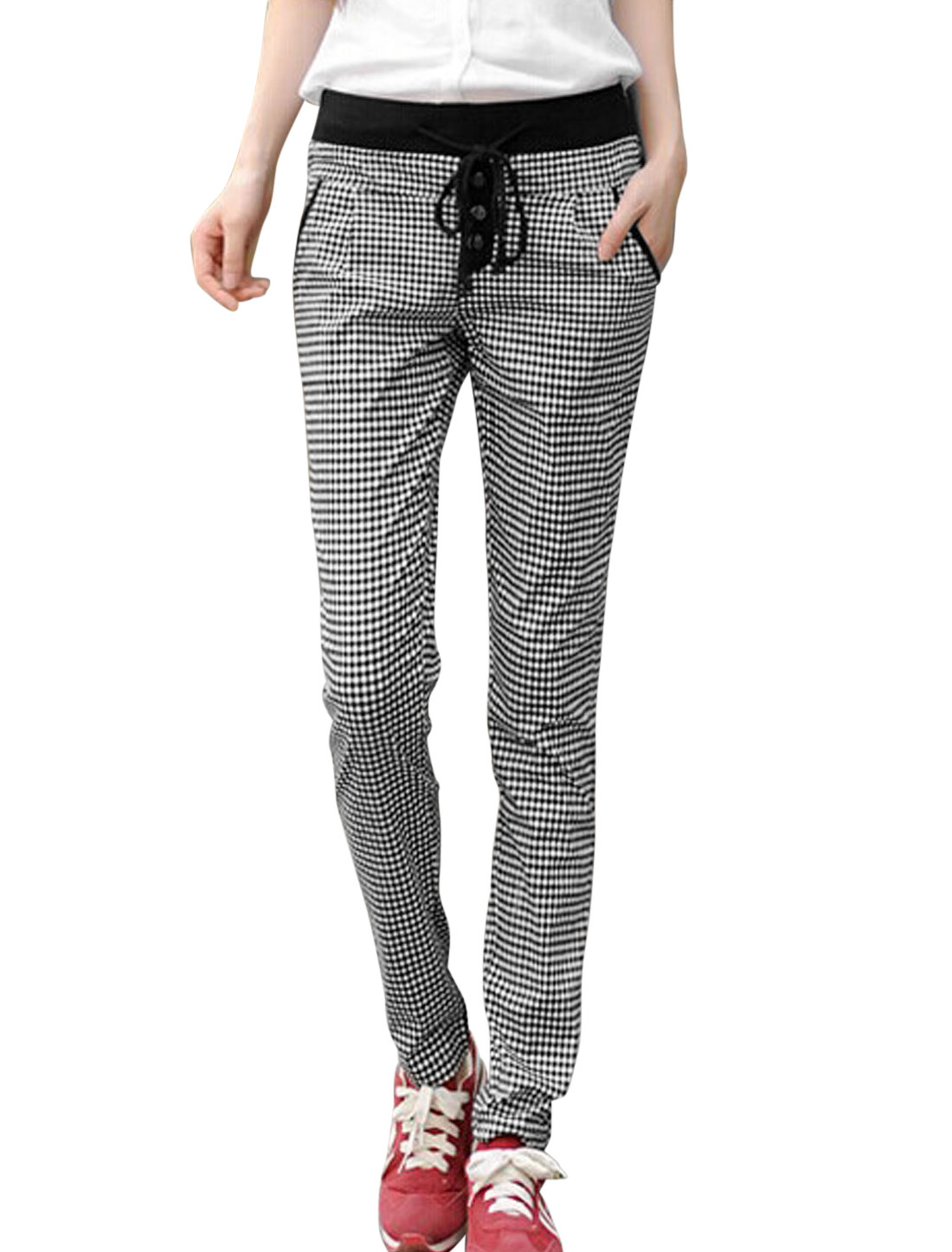 Women Plaids Pattern Drawcord Waist Tapered Casual Pants Black White S