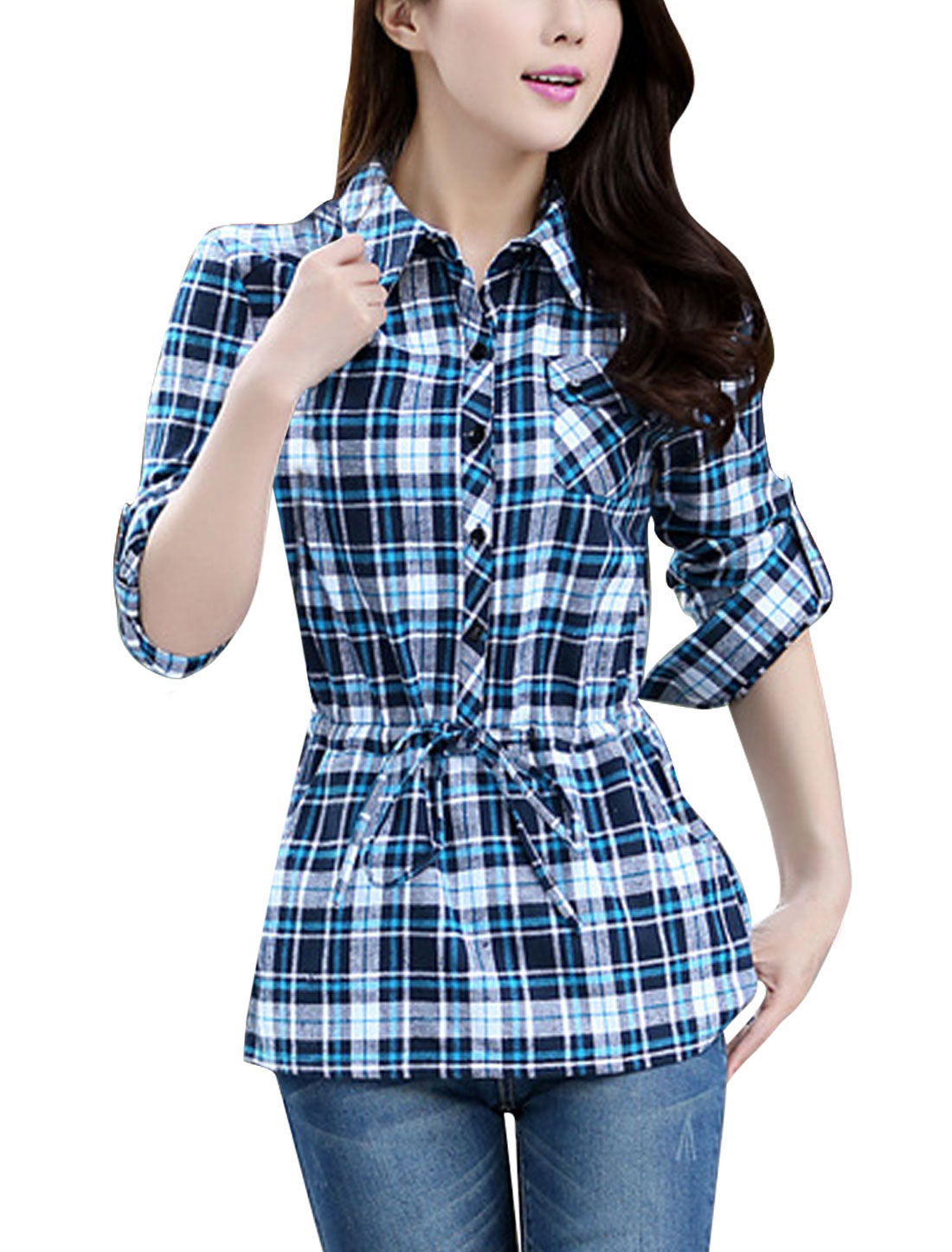 Lady Plaids Pattern Two Front Pockets Drawstring Casual Shirt Blue Navy Blue L