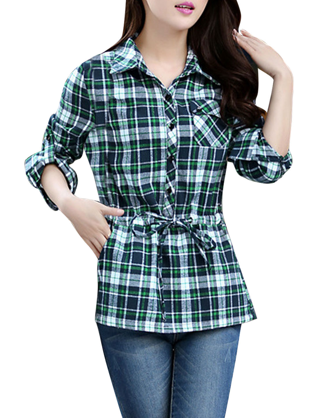 Lady Plaids Pattern Buttoned Cuffs Drawstring Casual Shirt Green Navy Blue L