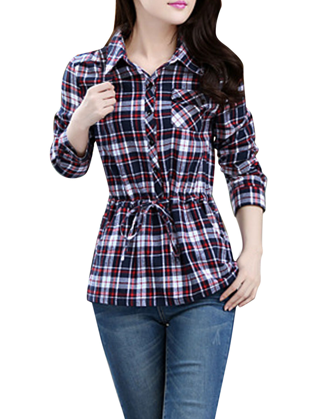 Lady Plaids Pattern One Bust Pocket Drawstring Casual Shirt Red Navy Blue L