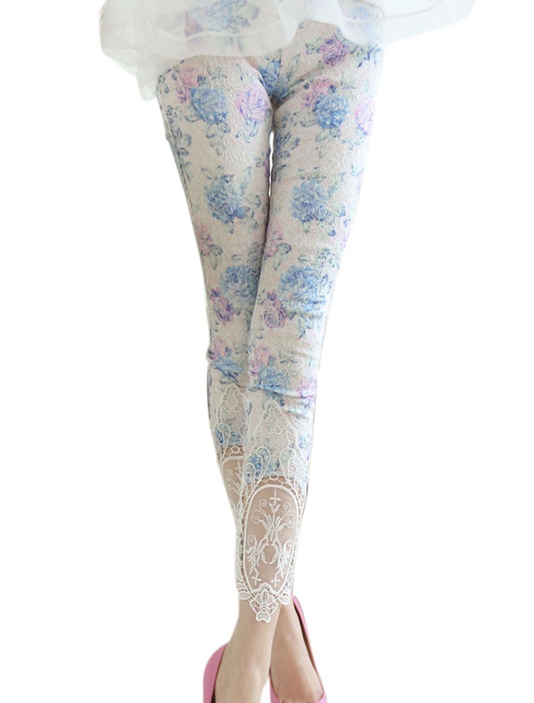 Women Embroidery Design Floral Print Crochet Decor Leggings Blue White XS