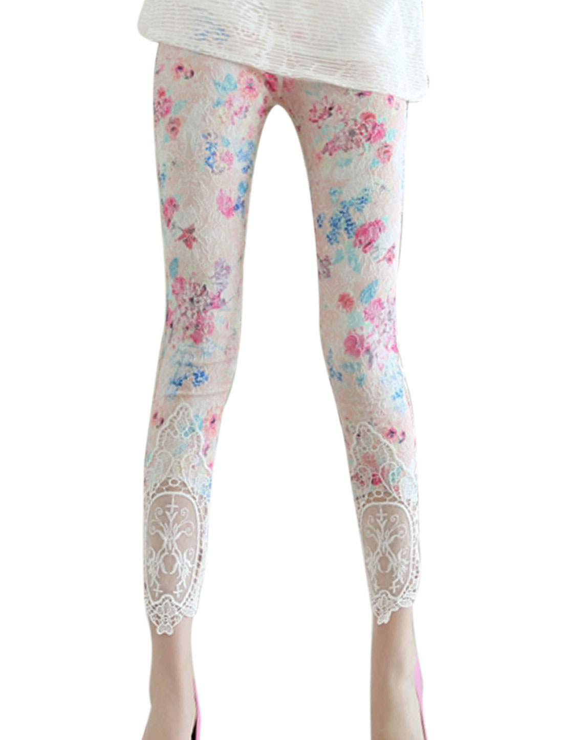 Women Embroidery Design Floral Print Semi Sheer Detail Leggings Pink White XS