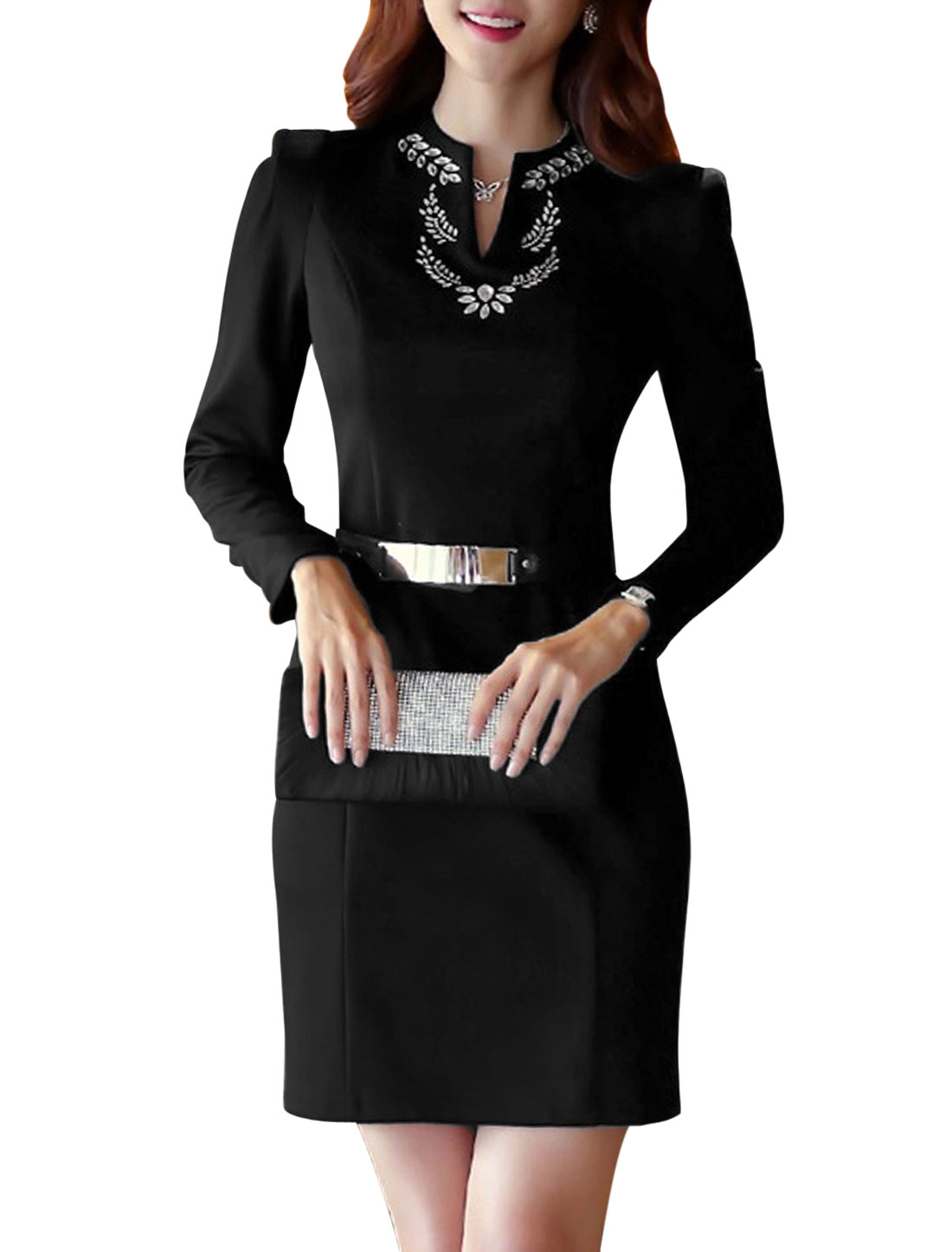 Lady Rhinestones Embellished Hidden Zipper Sheath Dress w Waist Strap Black S