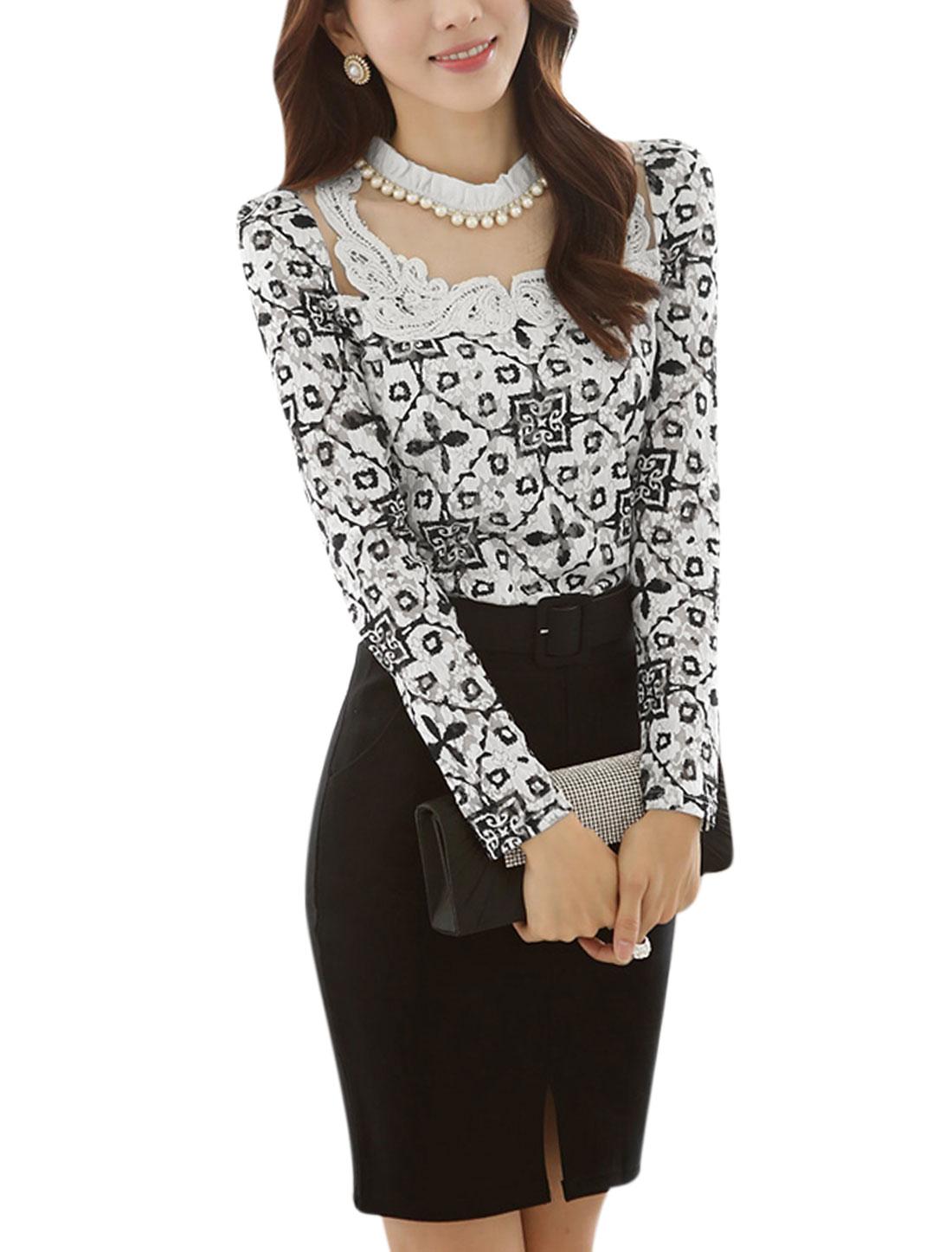 Lady Mesh Panel York Novelty Print Fake Pearl Decor Top Black White M
