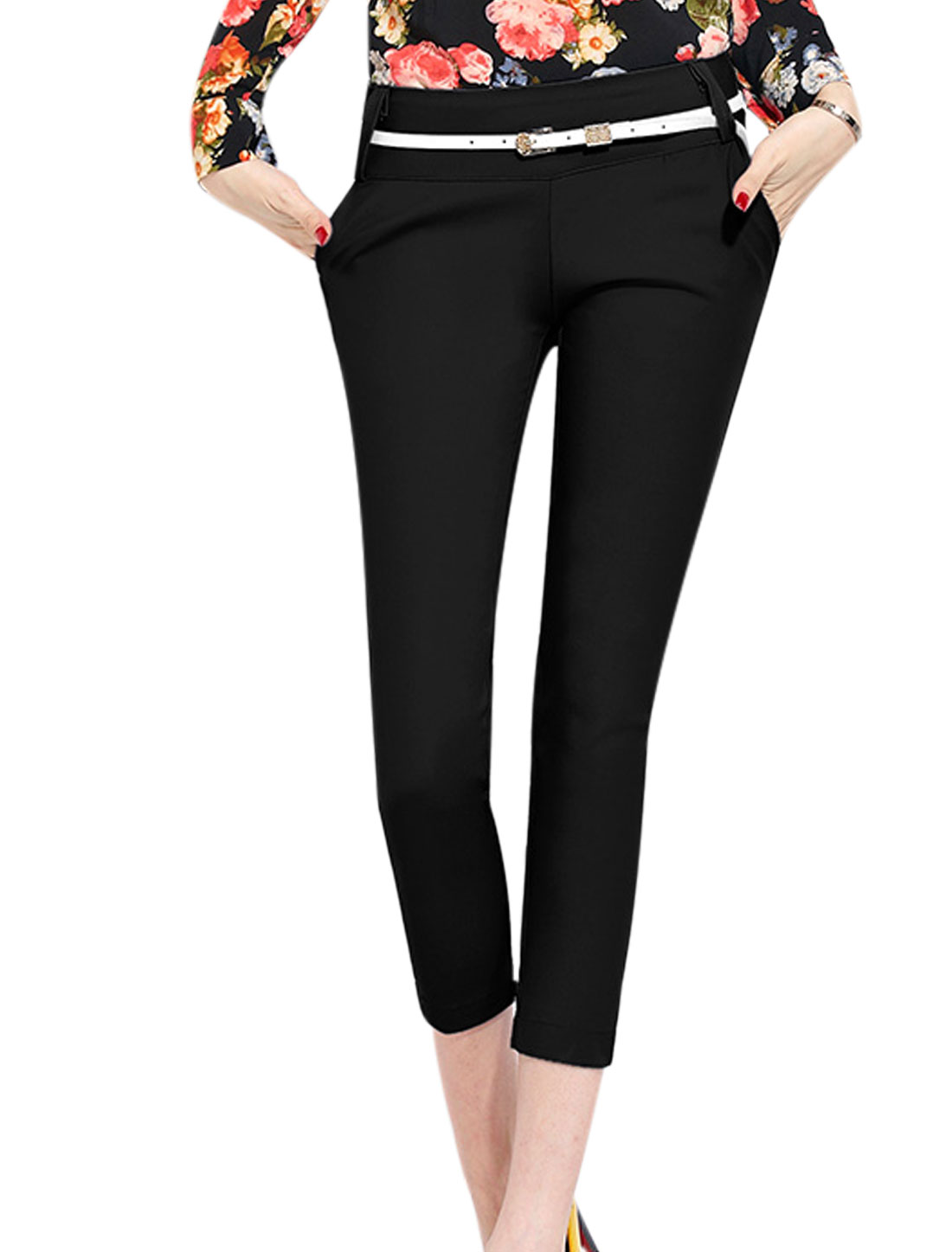 Lady Hidden Zipper Side Double Slant Pockets Casual Cropped Pants Black M