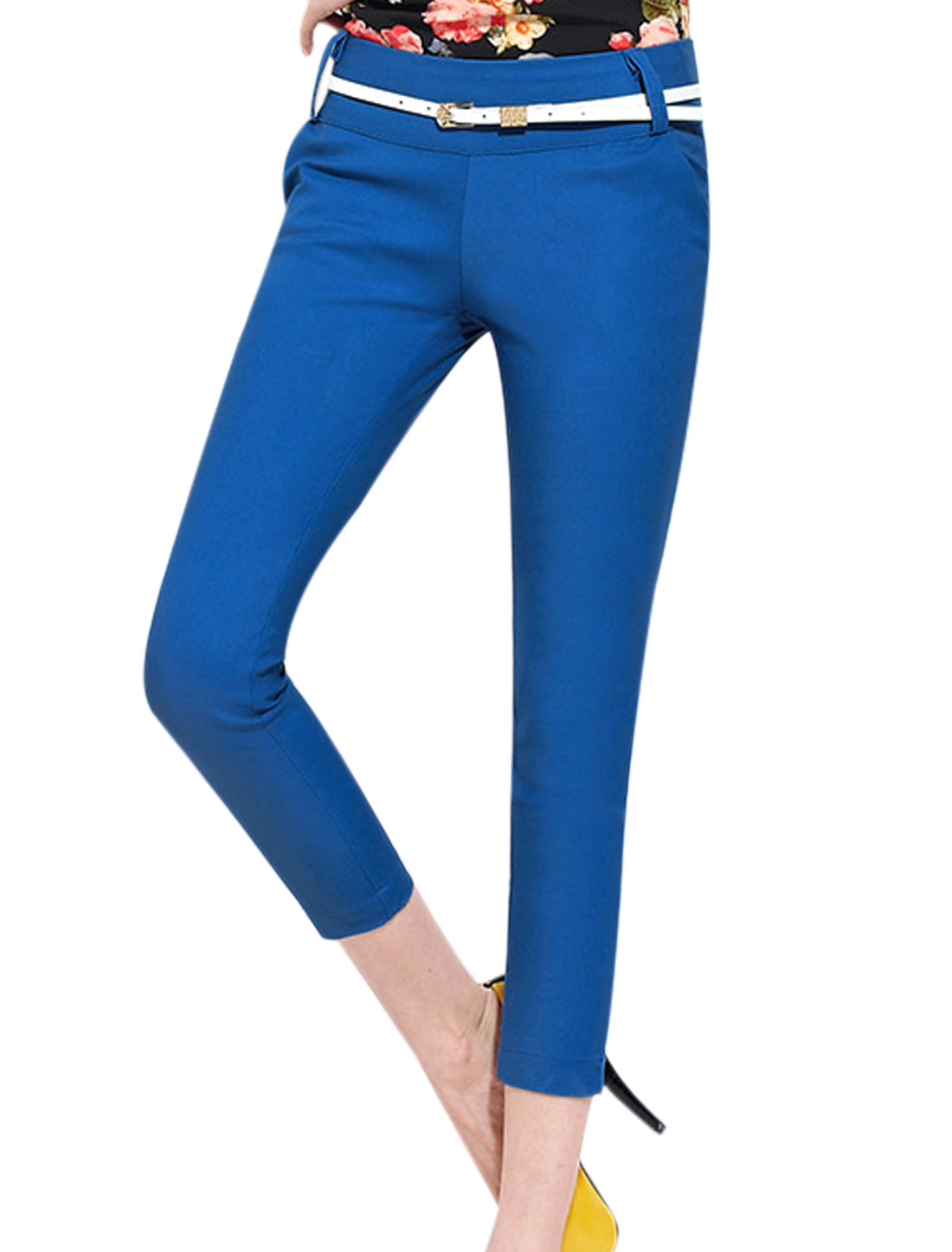 Ladies Two Pocket Sides Conceal Zipper Side Blue Cropped Pants M