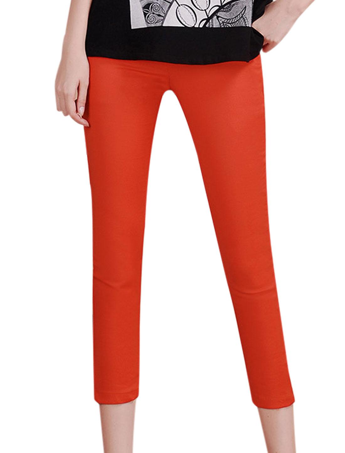 Fake Pocket Decor Back Natural Waist Orange Red Cropped Pants for Lady M