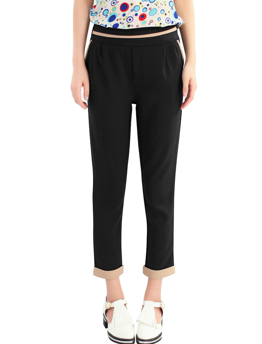 Ladies Black Eastic Waist Casual Capri Pants S