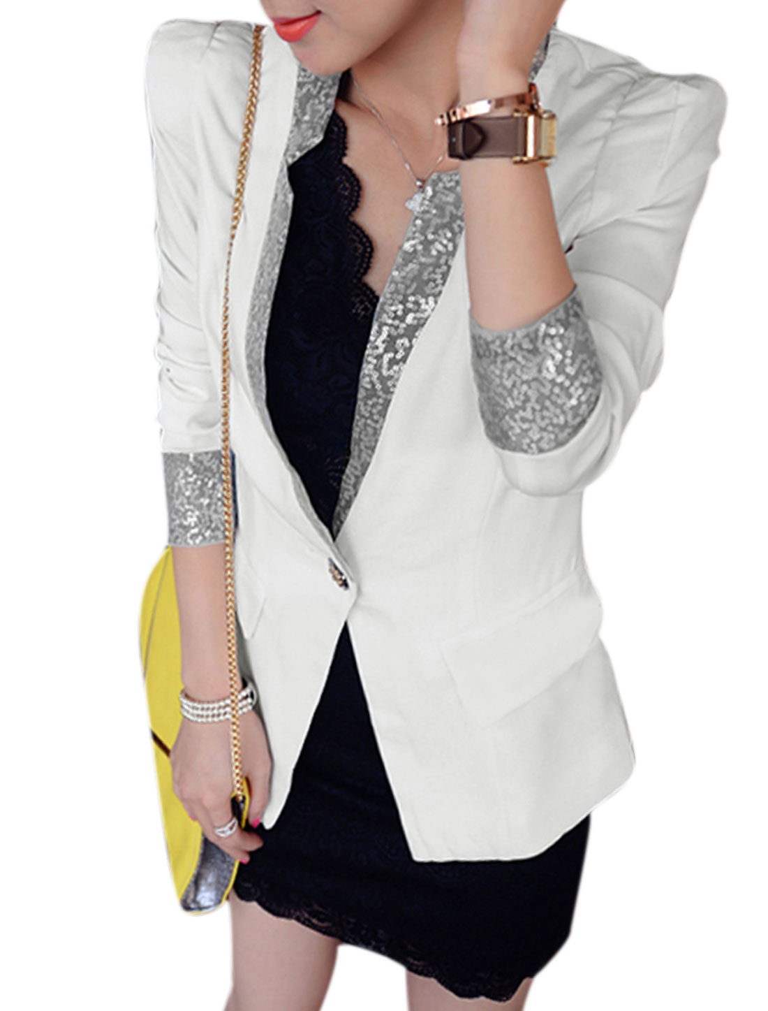 Lady Sequined Notched Lapel Pockets Front Decor Lining Blazer White M