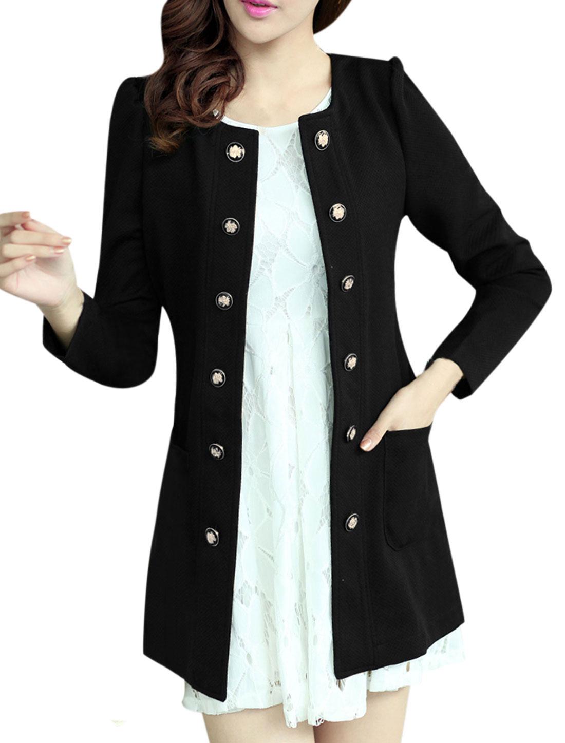Women Round Neckline Button Decor Front Trench Jacket Black L