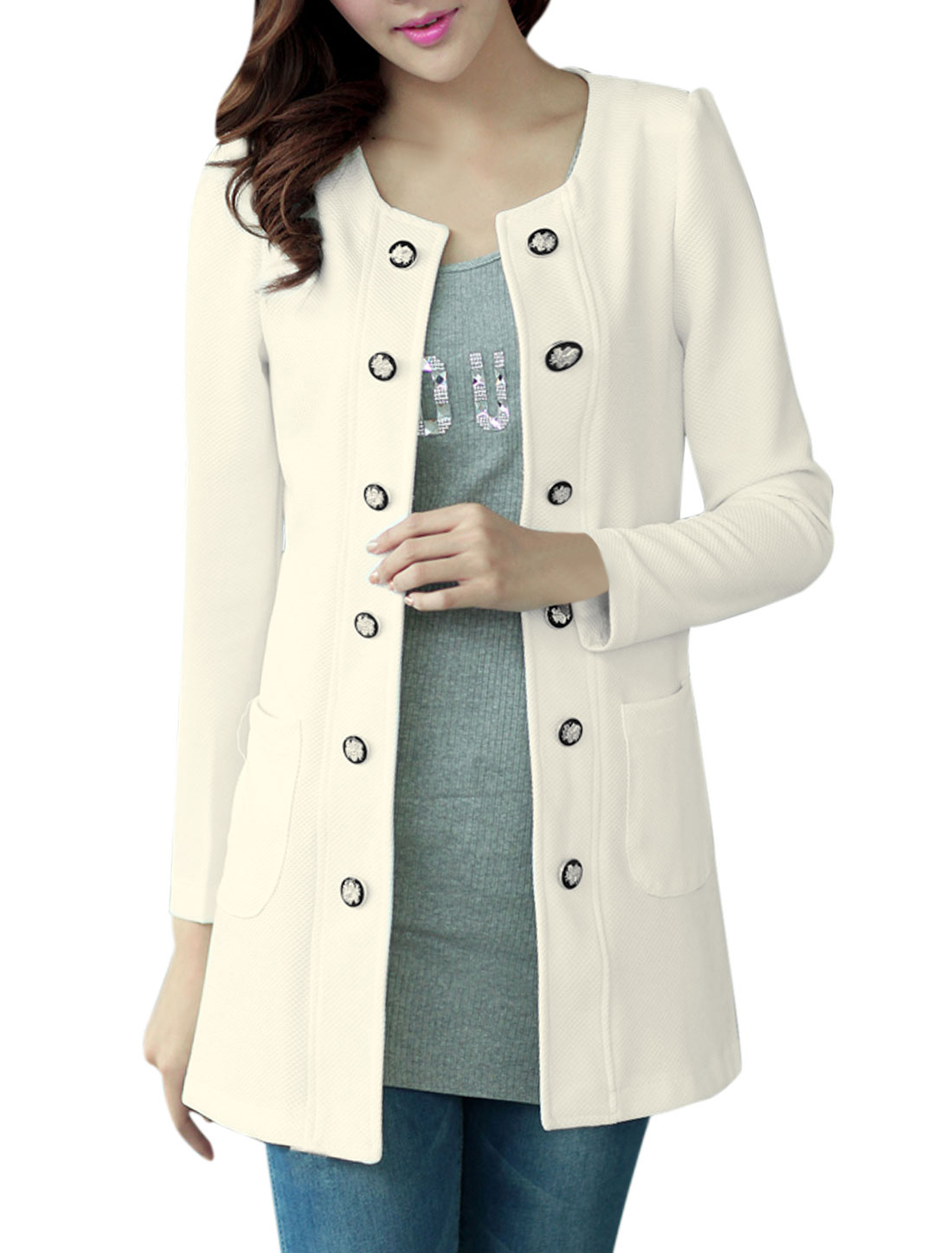 Ladies Hook Eye Closure Long Sleeves White Trench Jacket L