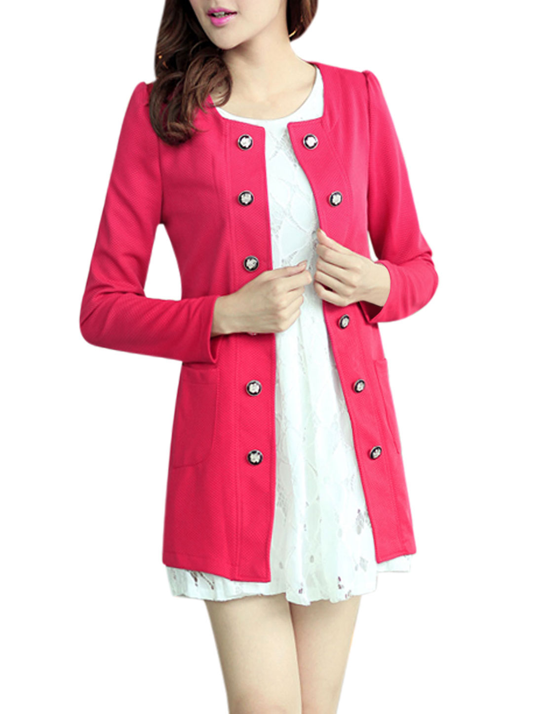 Lady Long Sleeves Double Pocket Front Fuchsia Trench Jacket L