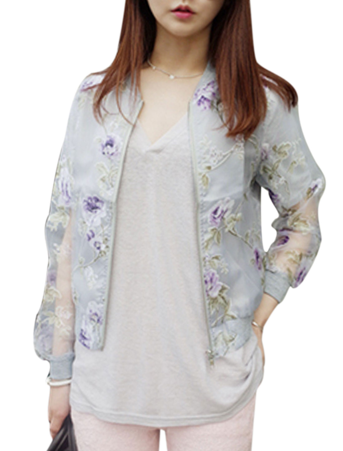 Lady Flower Pattern Ribbed Trim Semi Sheer Organza Jacket Purple Light Gray S