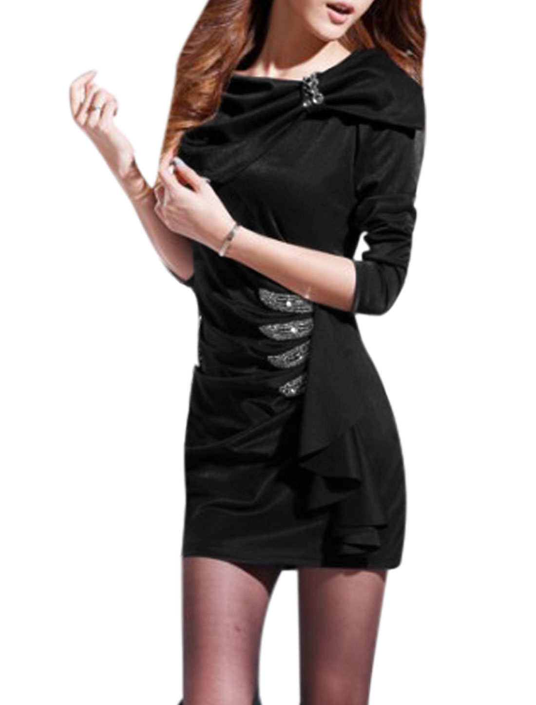 Women Turn Down Collar Long Sleeves Ruched Detail Sheath Dress Black M