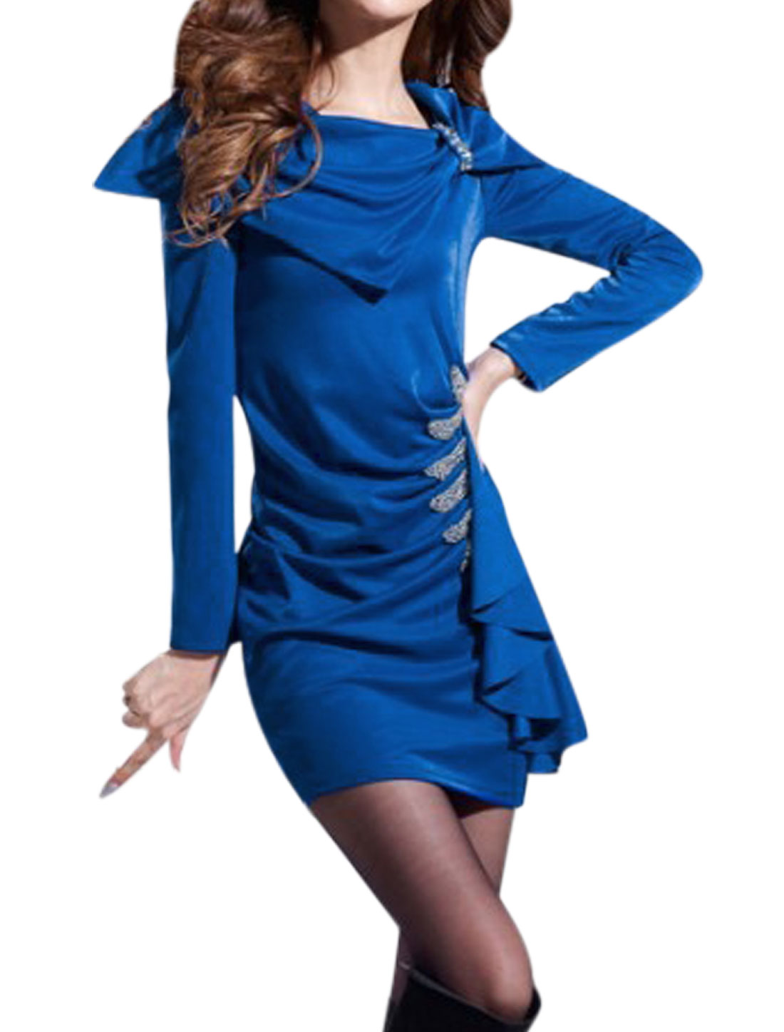 Ruched Design Slipover Long Sleeves Chic Blue Sheath Dress for Lady M