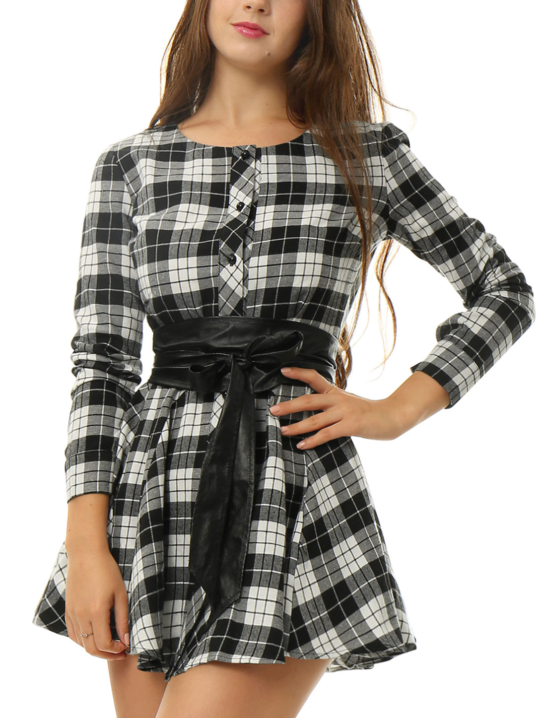 Lady Long Sleeves Plaids Pattern Casual Shirt Dress w Belt White Black S
