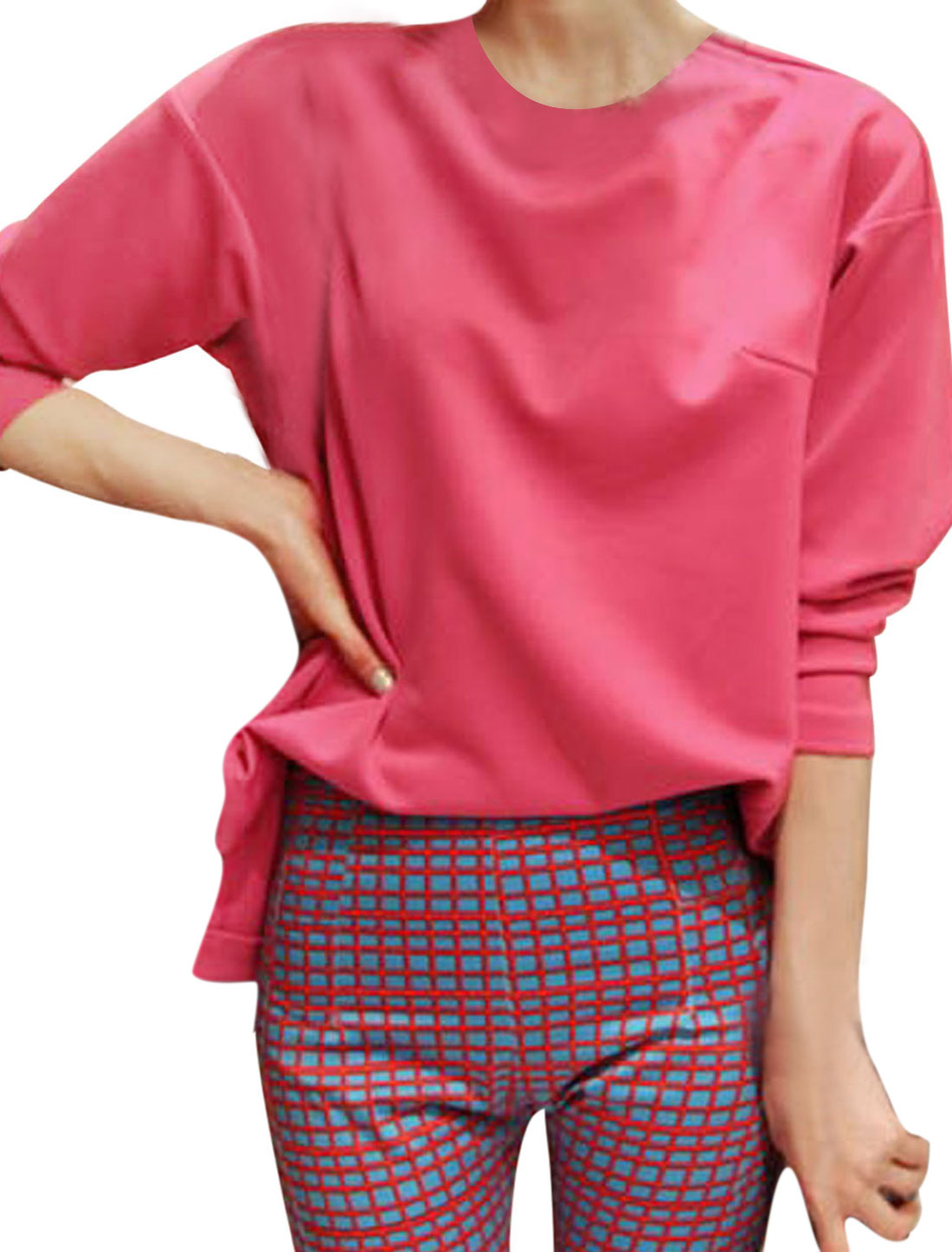 Ladies Fuchsia Long Sleeves Round Neck Pullover Low High Hem Top Shirt S