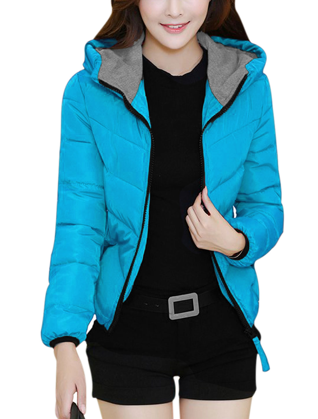 Women Zip Up Double Pockets Buttons Decor Back Hooded Down Jacket Blue M