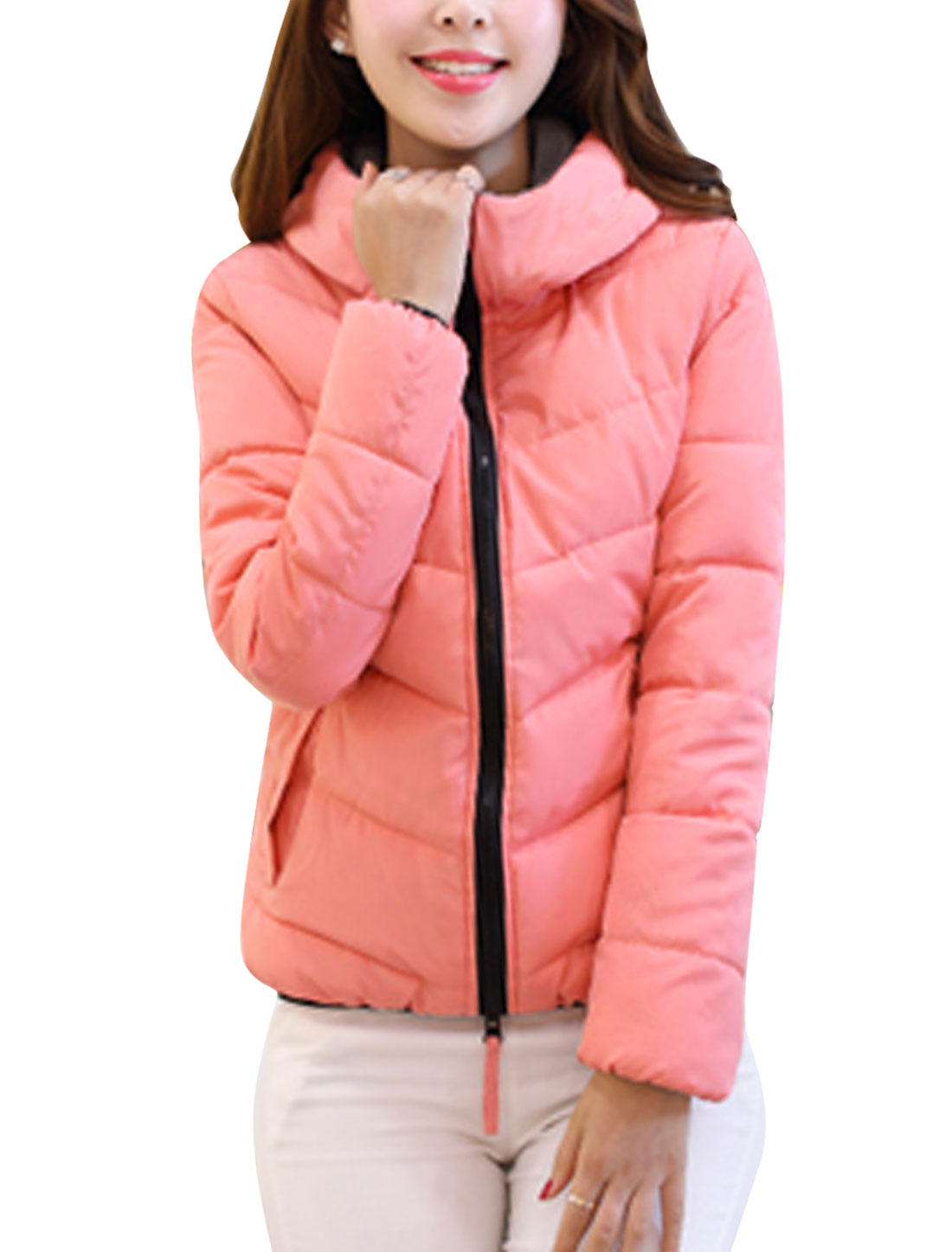Lady Long Sleeve Double Front Pockets Casual Down Jacket Salmon M