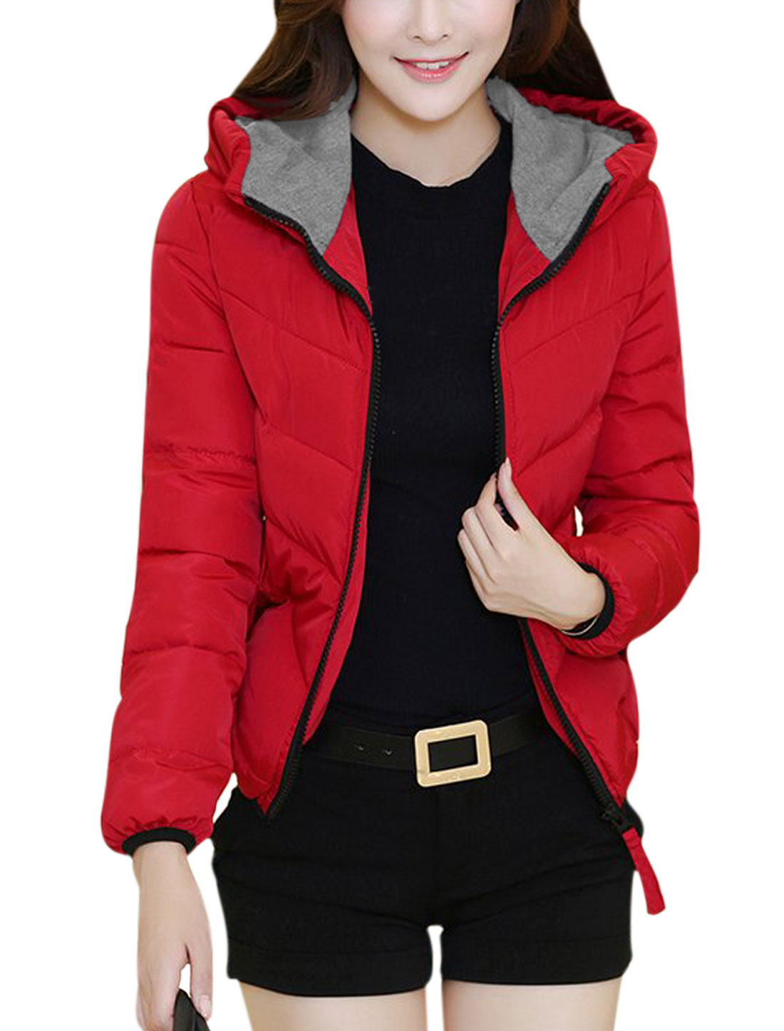 Women Zip Up Long Sleeve Stretchy Hem Leisure Down Jacket Red M