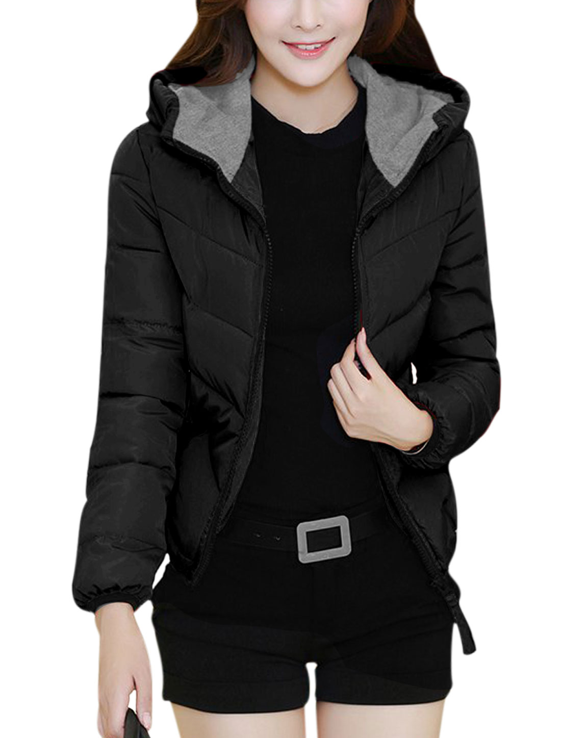 Lady Zipper Closure Double Pockets Hooded Down Jacket Black M