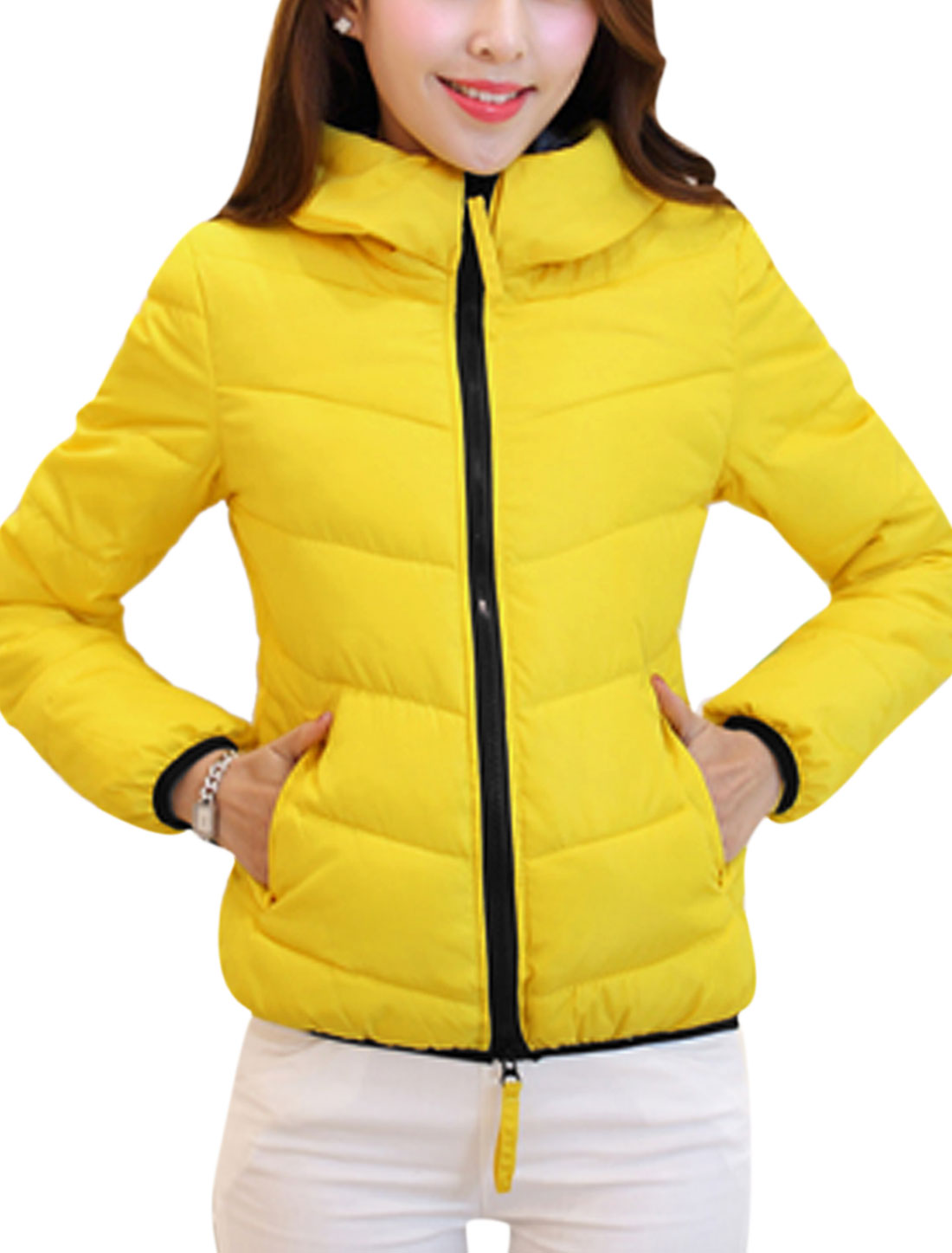 Women Fashion Style Zip Up Front Hooded Casual Down Jacket Yellow M