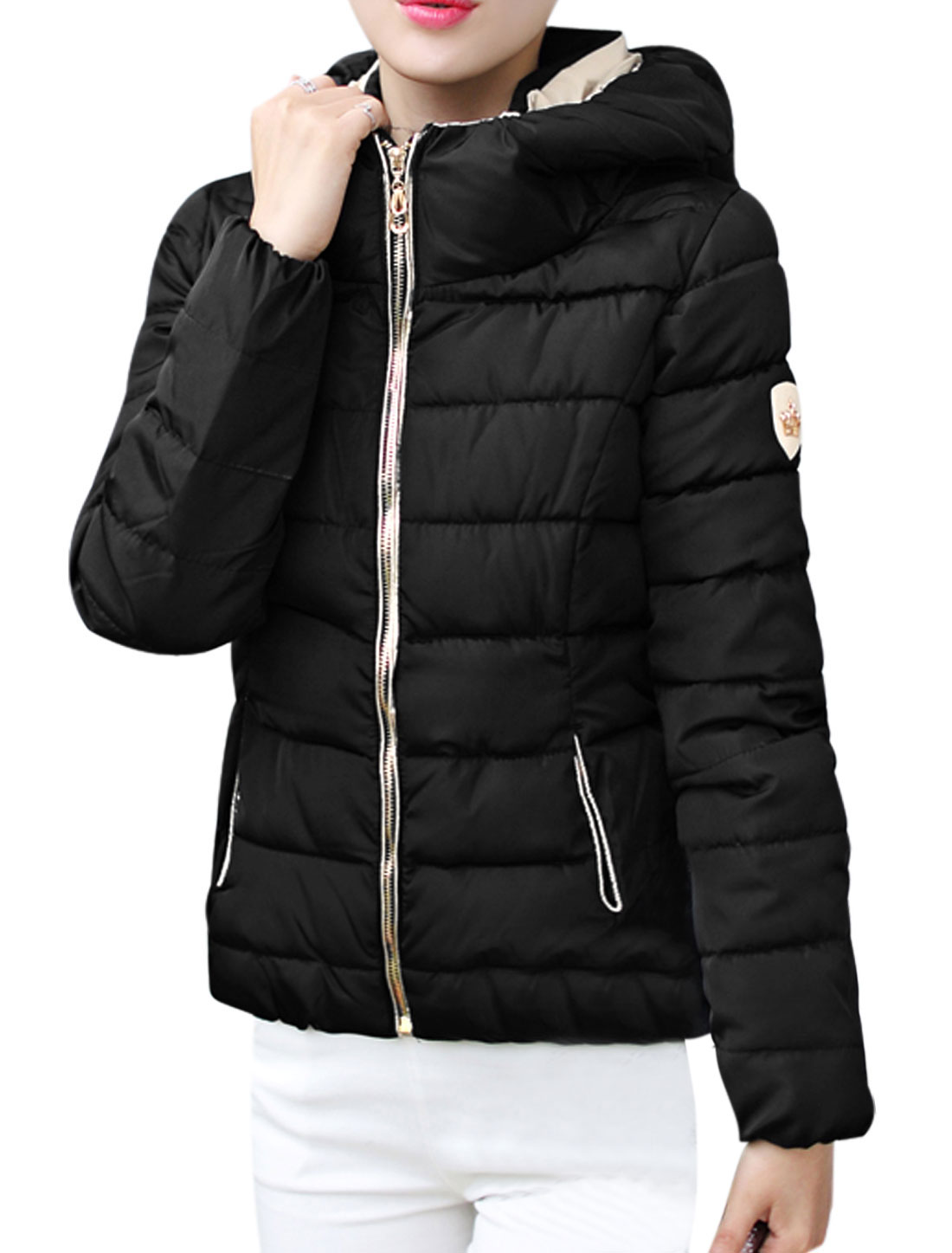 Women Long Sleeves Zip Closed Front Hooded Padded Coat Black L