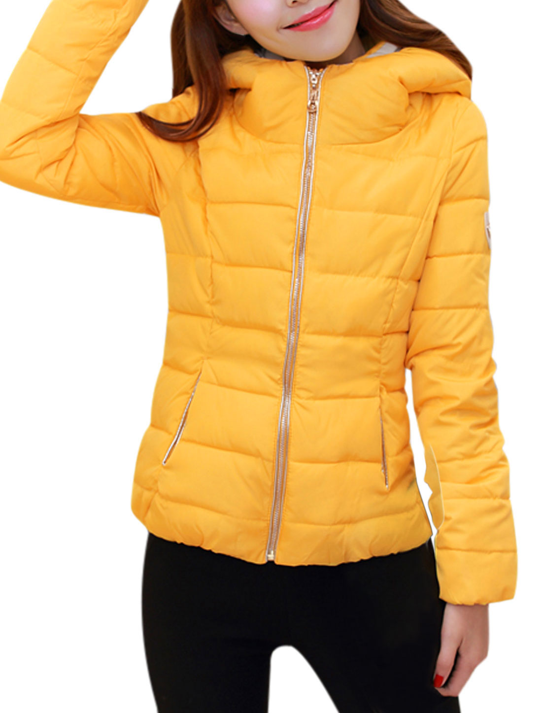 Ladies Long Sleeves Double Pocket Front Yellow Hooded Padded Coat L