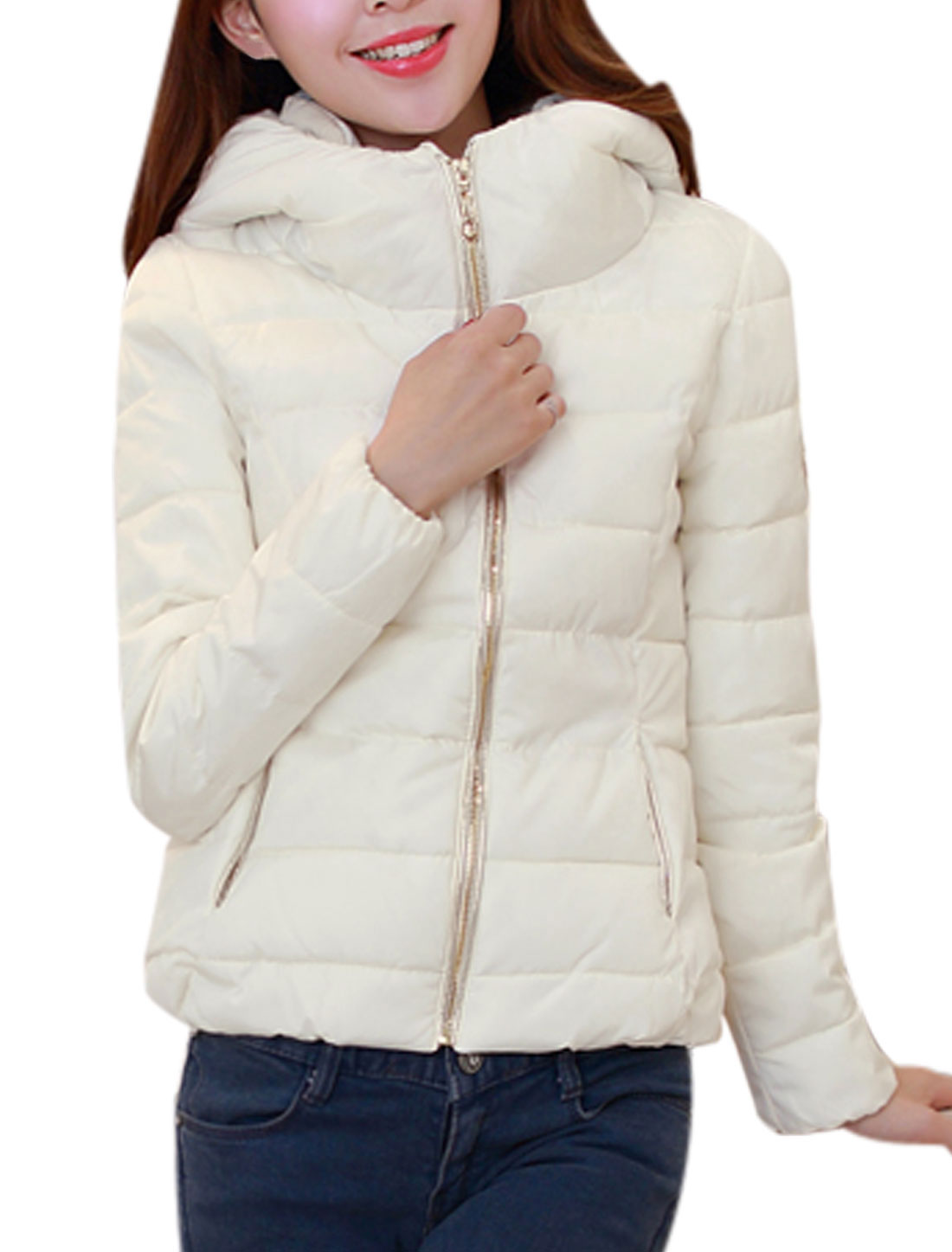 Lady Double Pocket Zip Up Front Off White Hooded Padded Coat L