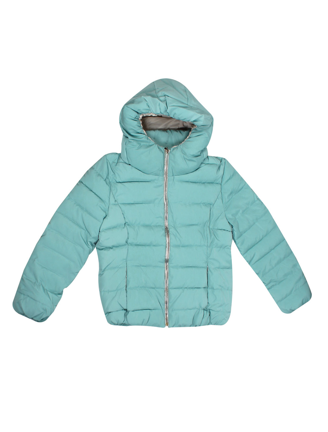 Zip Closure Long Sleeves Aqua Hooded Padded Coat for Lady L
