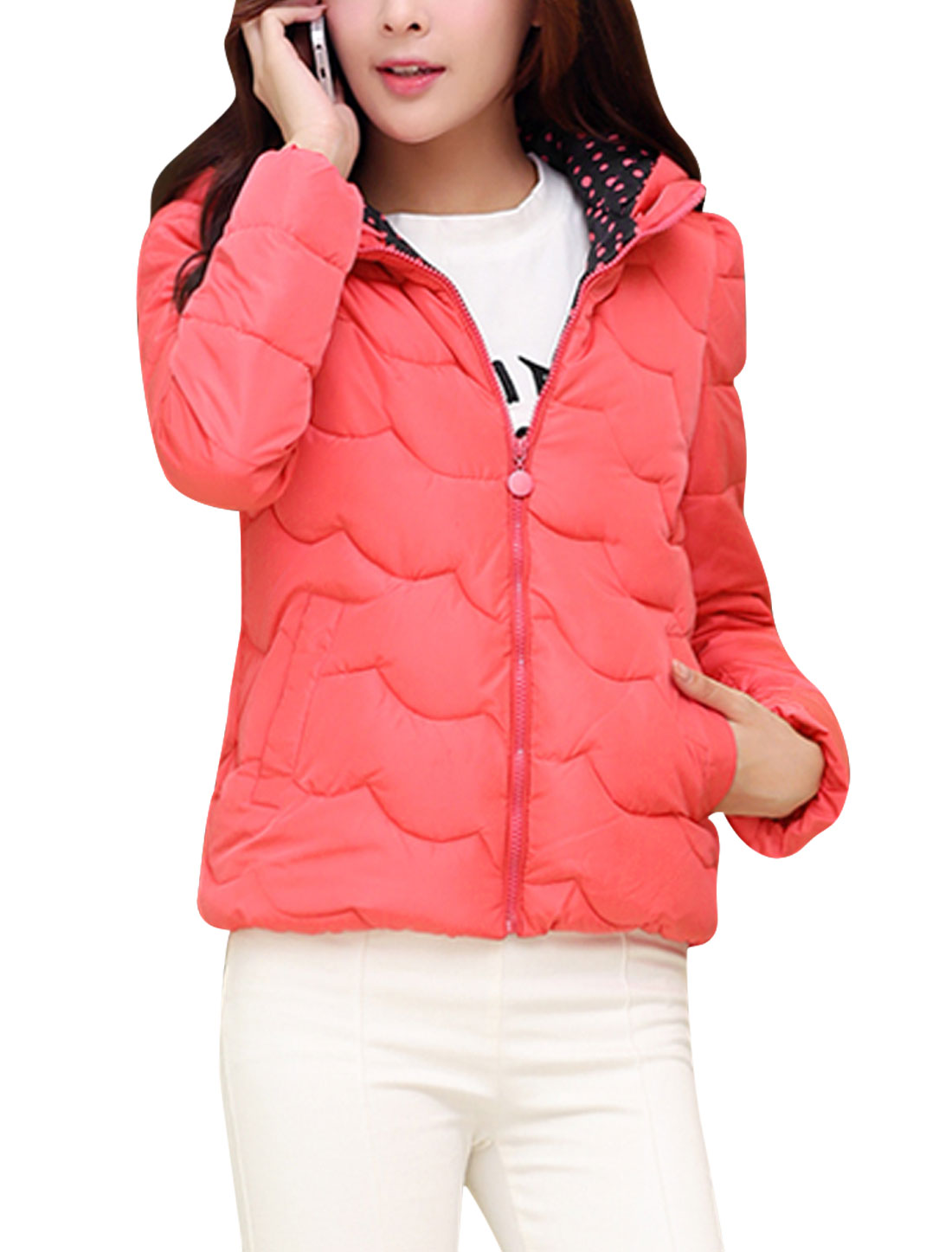Lady Moved Hooded Design Dots Detail Fashion Down Coat Coral M