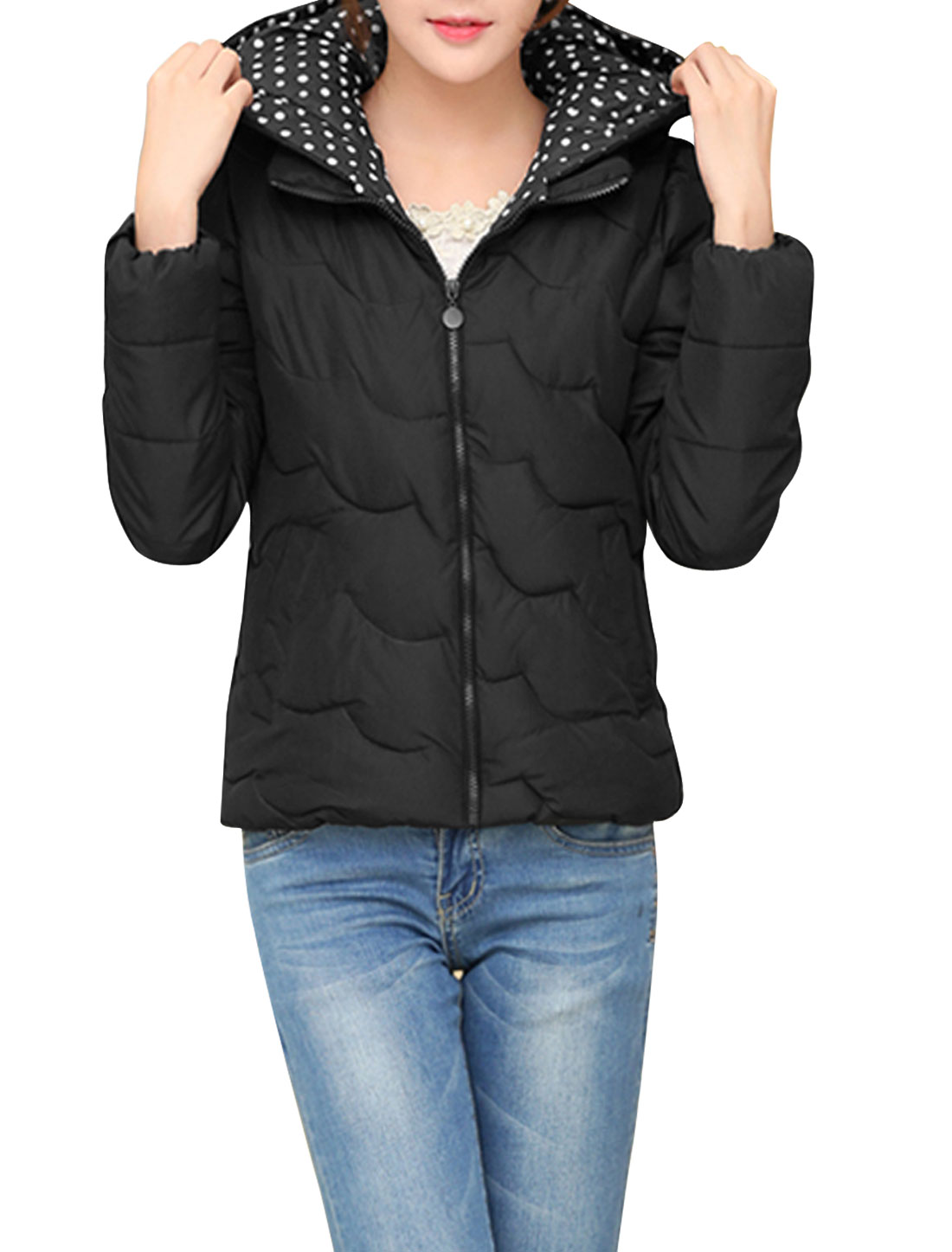 Lady Double Slant Pockets Front Wave Design Casual Down Coat Black M