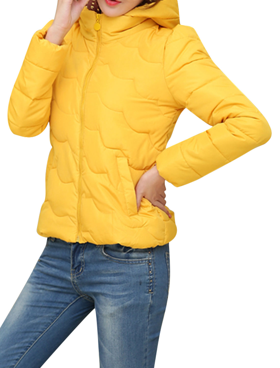Lady Moved Hooded Design Fashionable Casual Down Coat Yellow M
