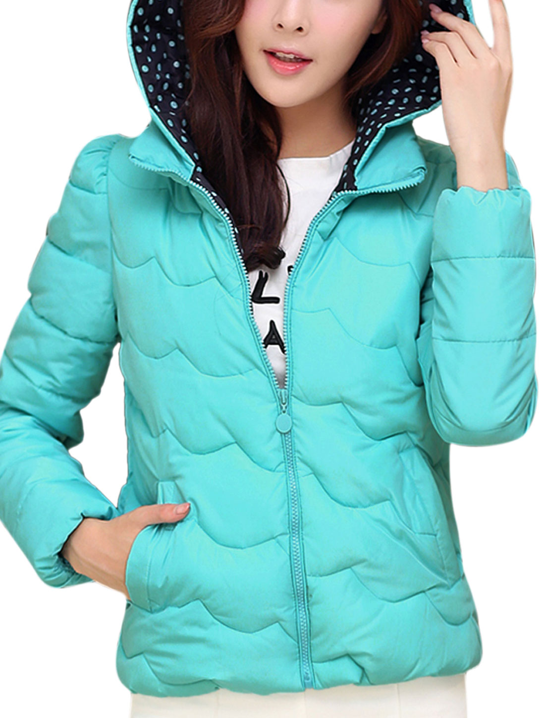 Cozy Fit Moved Hooded Design Wave Design Leisure Down Coat for Lady Baby Blue M
