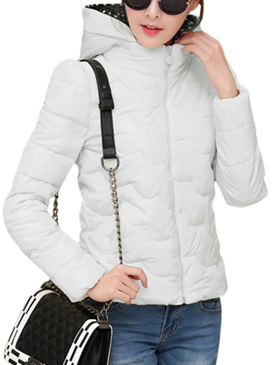 New Style Long Sleeve Moved Hooded Design Casual Down Coat for Lady White M