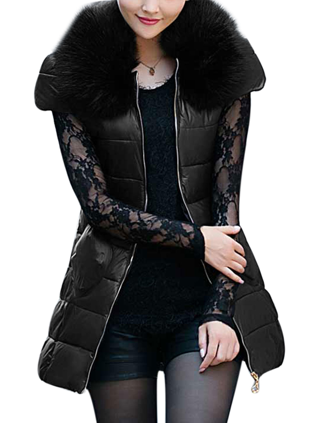Lady Detachable Plush Collar Pockets Front Zip-Up Warm Padded Vest Black XS