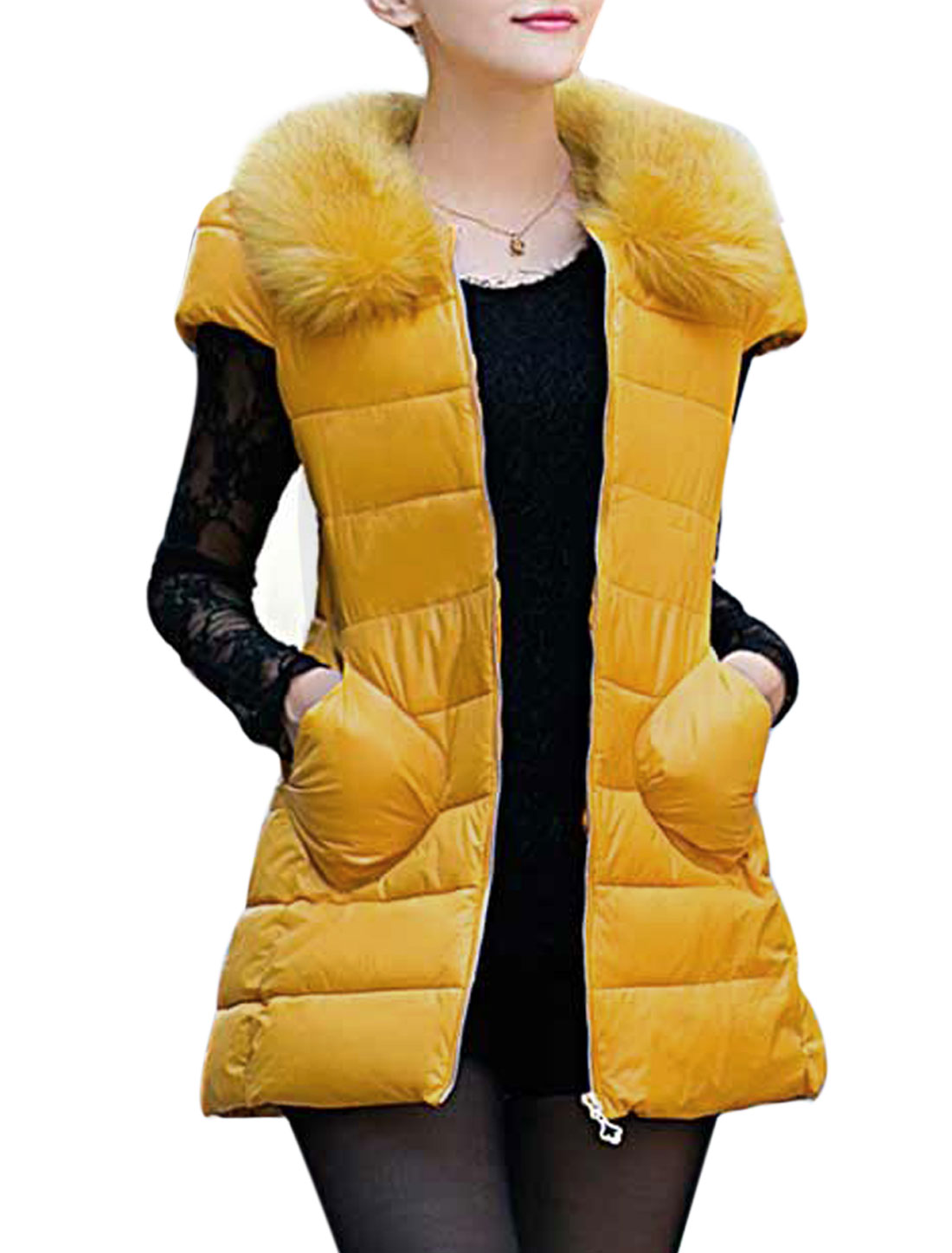 Lady Detachable Plush Collar Zip-Up Front Cap Sleeves Padded Vest Yellow XS