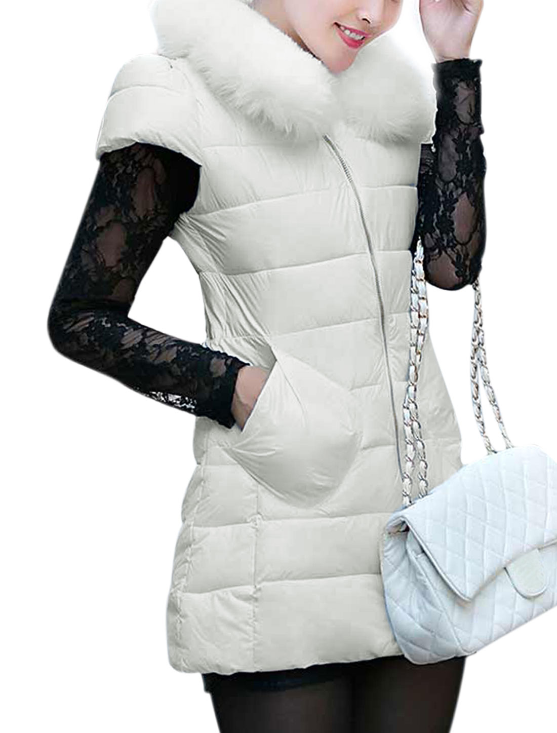 Ladies Round Neckline Zip-Up Front Cap Sleeves Padded Vest White XS