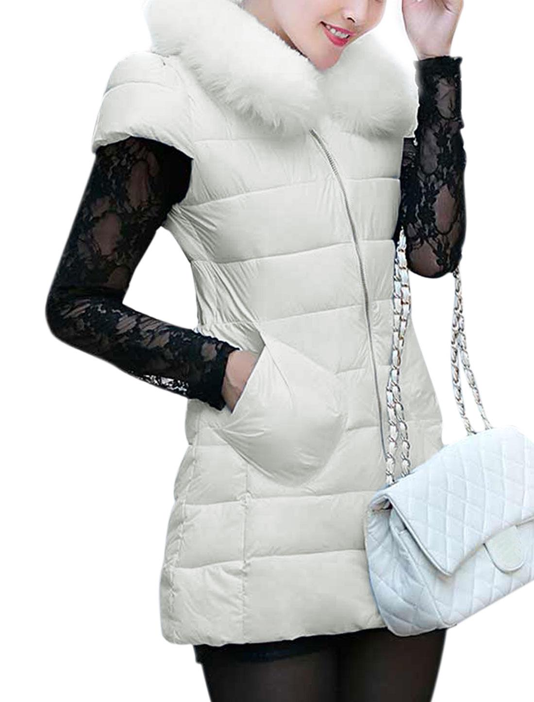 Ladies Round Neckline Zip-Up Front Cap Sleeves Padded Vest White XS