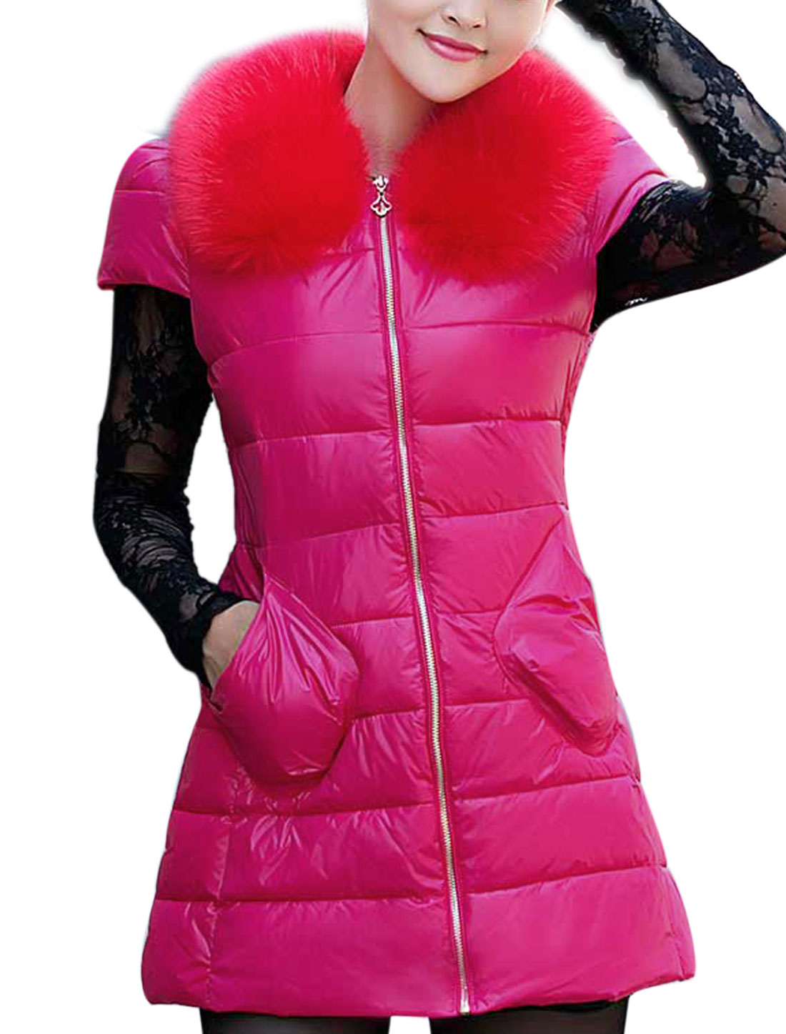Ladies Round Neckline Full Zipper Cap Sleeves Padded Vest Fuchsia XS