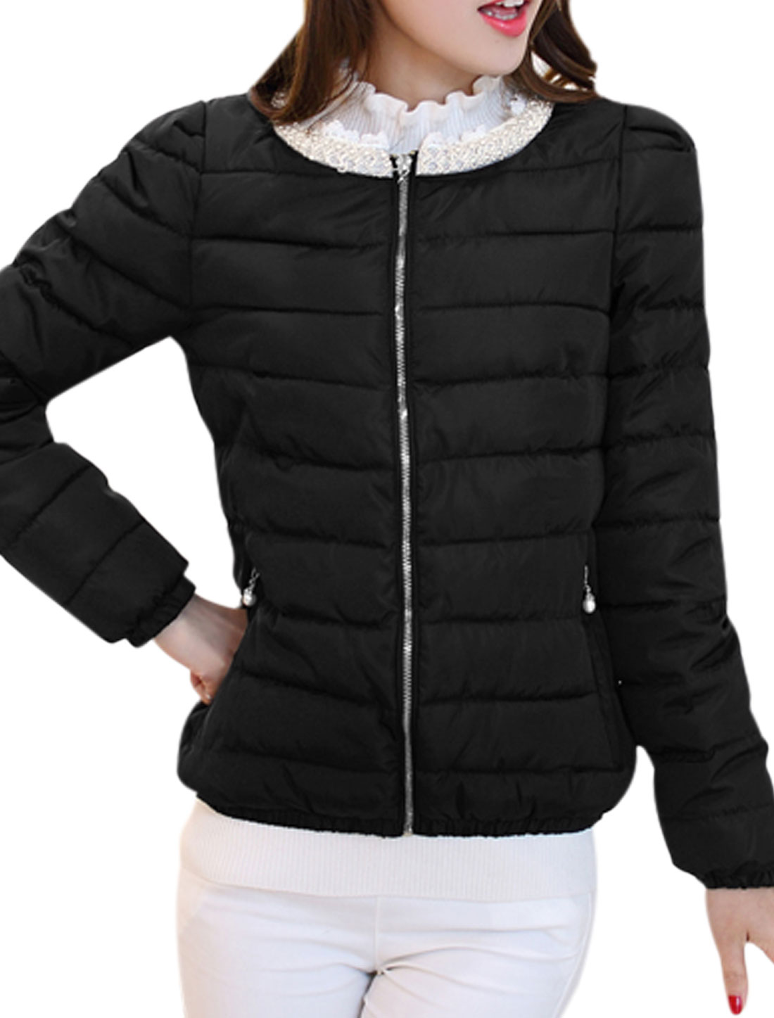 Women Beads Decor Neck Long Sleeve Zip Up Padded Coat Black M