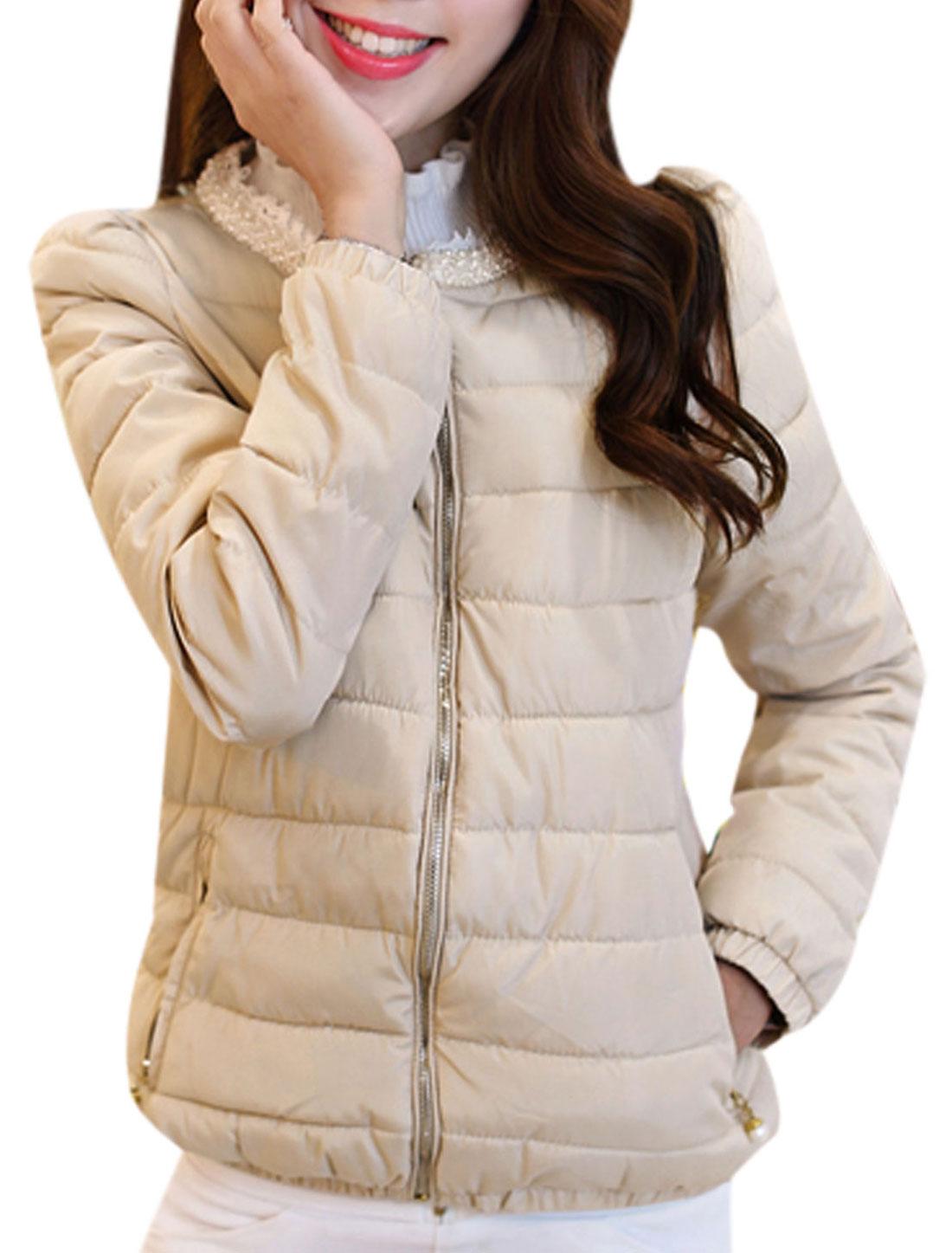 Ladies Round Neck Long Sleeves Beige Padded Coat M