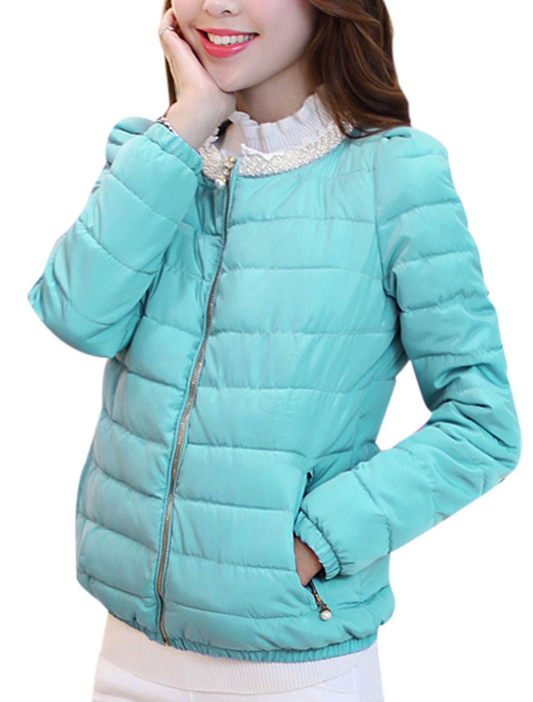 Elastic Cuffs Round Neck Light Blue Padded Coat for Women M