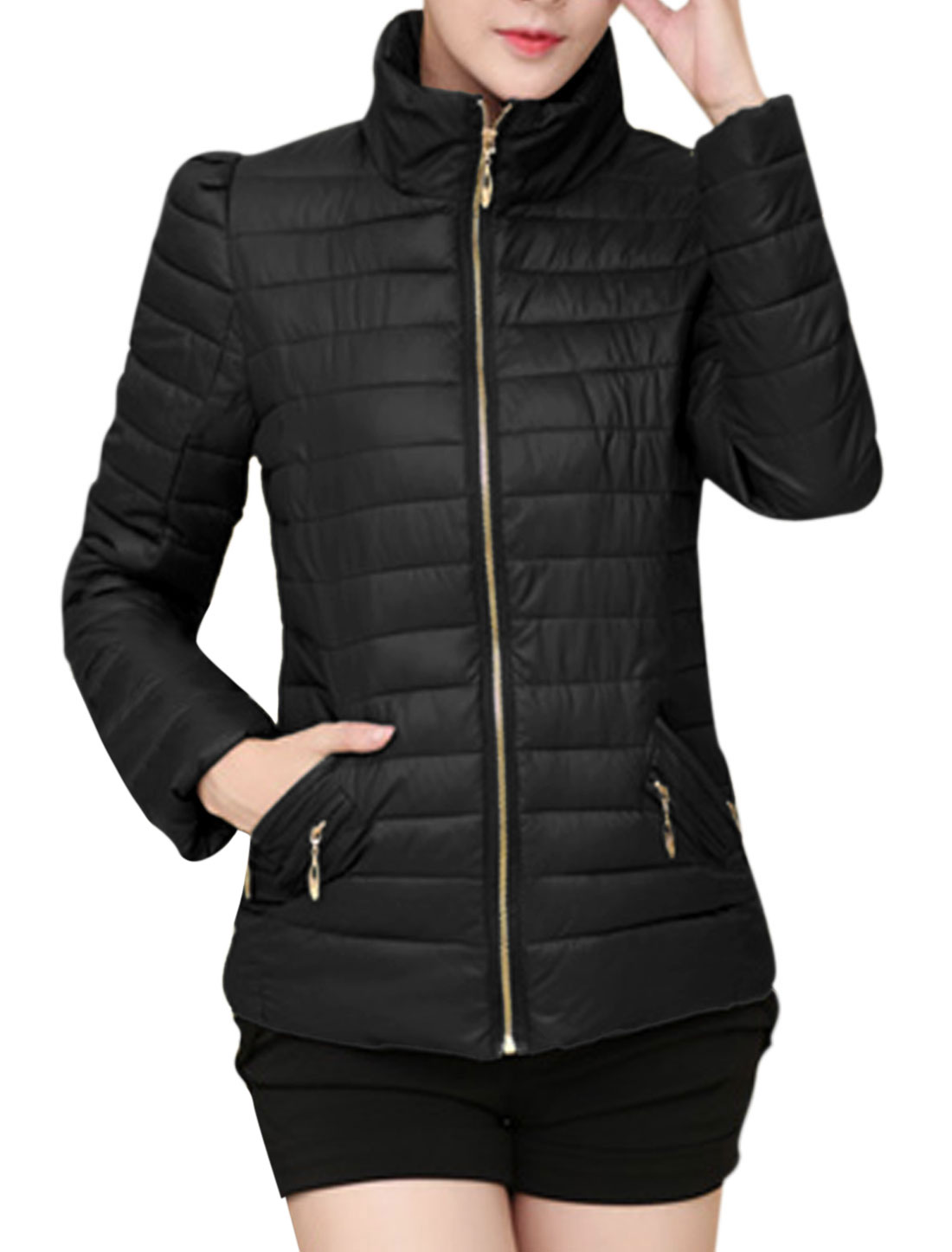 Lady Zip Up Zipper Closed Pockets Front Casual Padded Coat Black M
