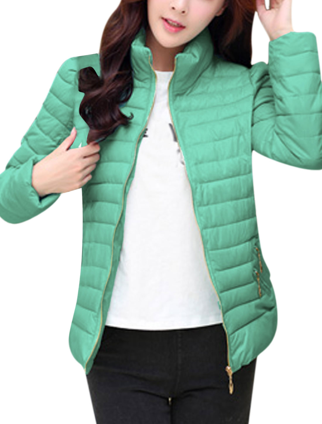 Lady Stand Collar Fake Zipper Pocket Front Stylish Padded Coat Mint M