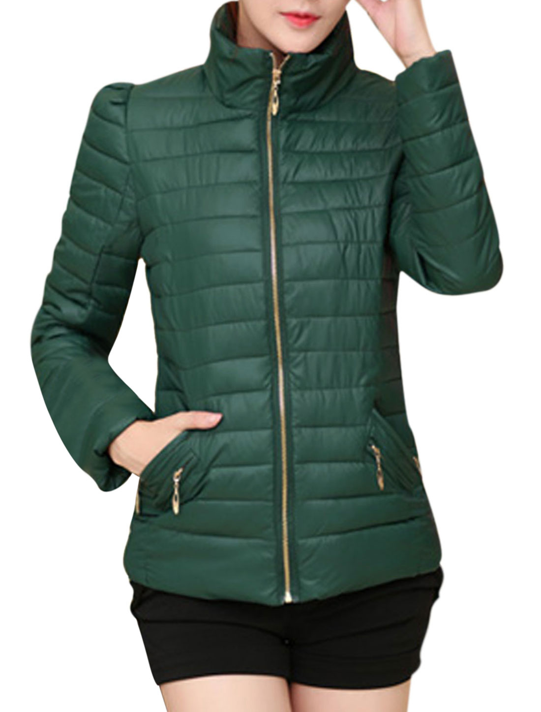 Lady Stand Collar Zip Up Design Cozy Fit Padded Coat Dusty Green M